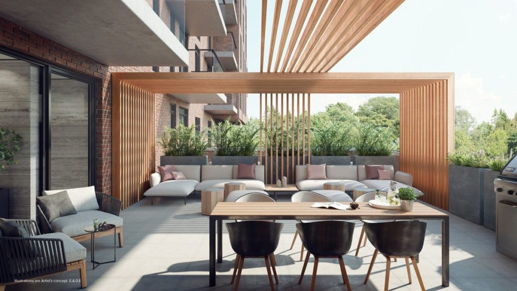 rooftop amenity with bbq at st clair village condos at 900 st clair west