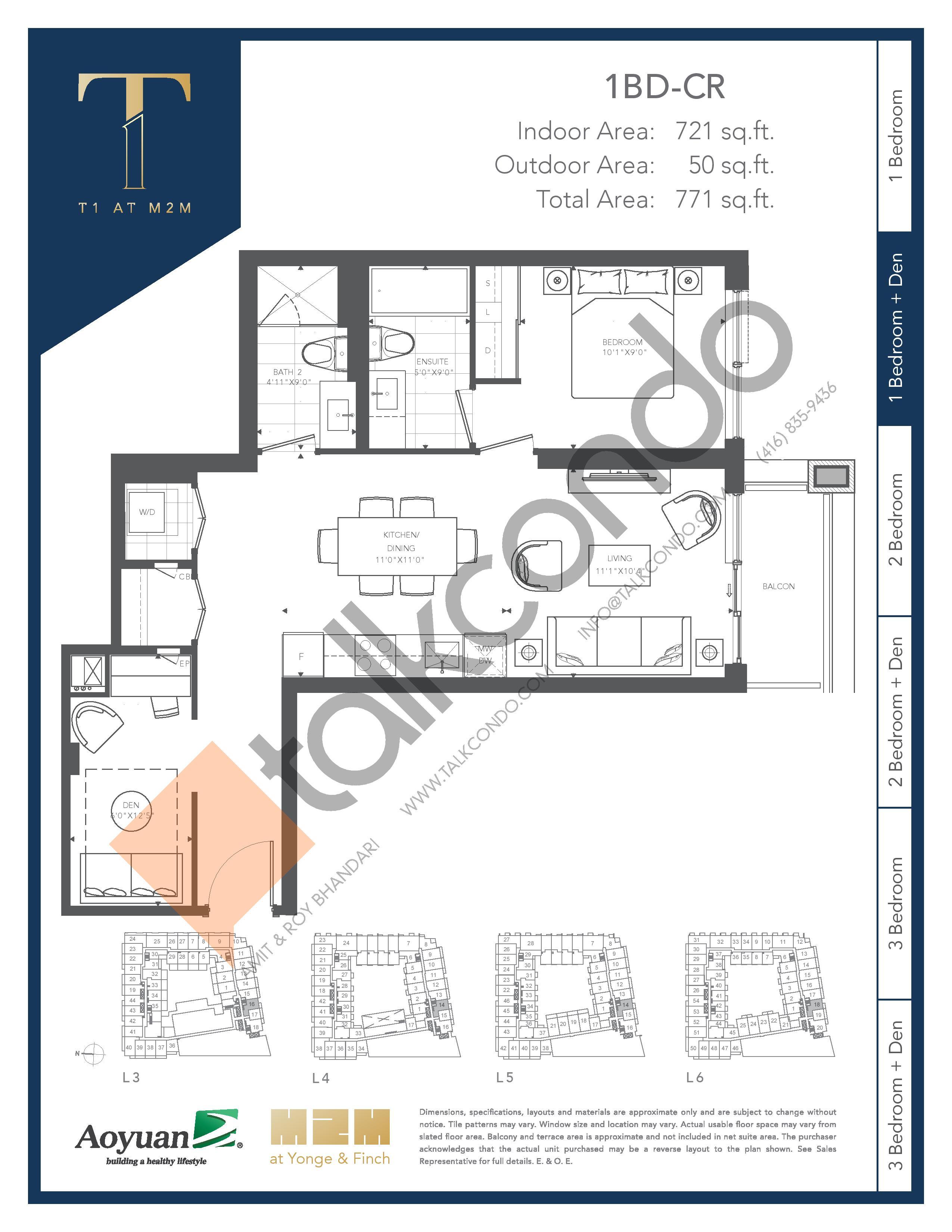 1BD-CR Floor Plan at T1 at M2M Condos - 721 sq.ft