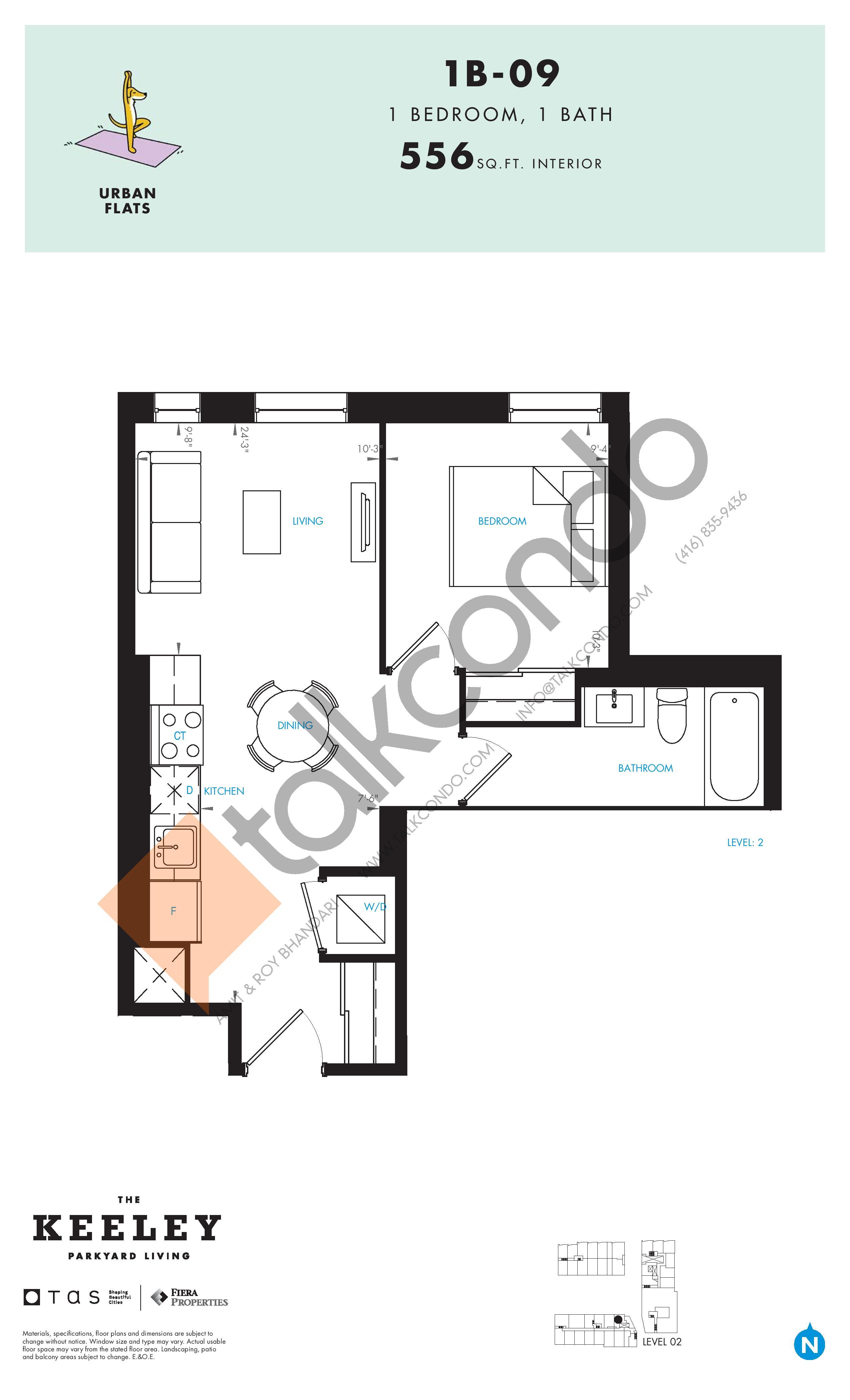 1B-09 Floor Plan at The Keeley Condos - 556 sq.ft