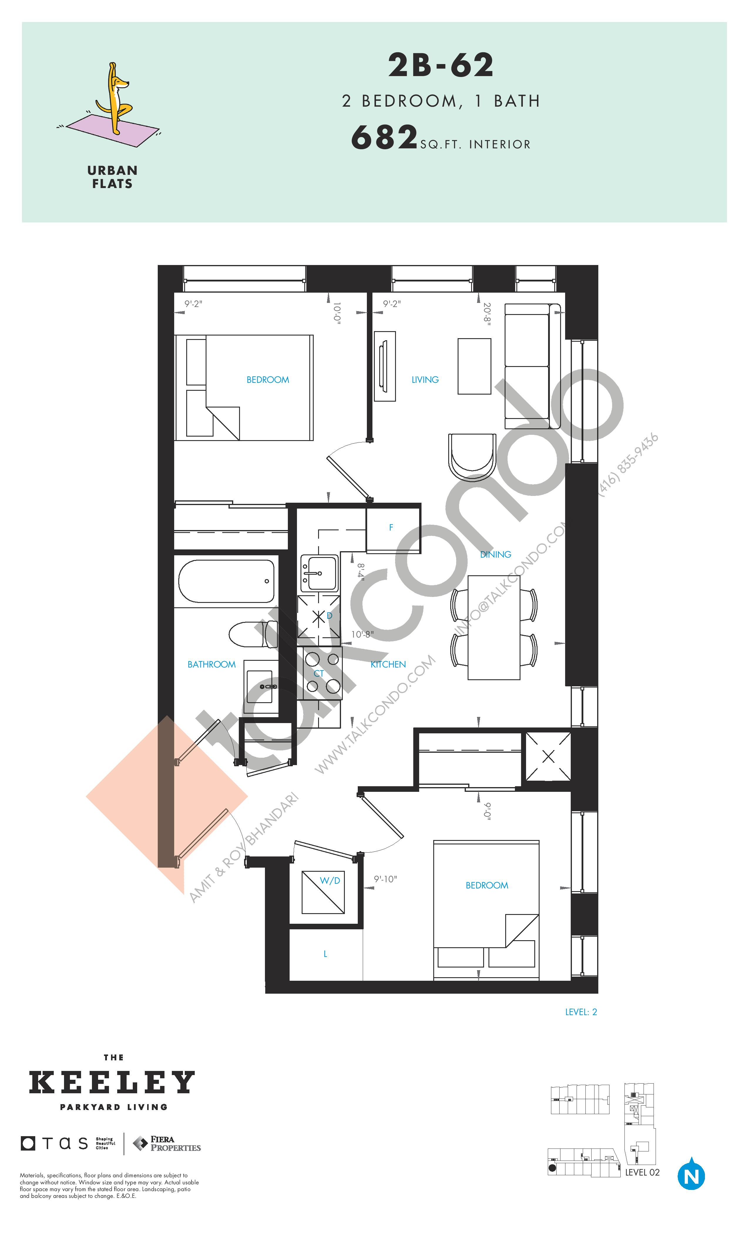 2B-62 Floor Plan at The Keeley Condos - 682 sq.ft