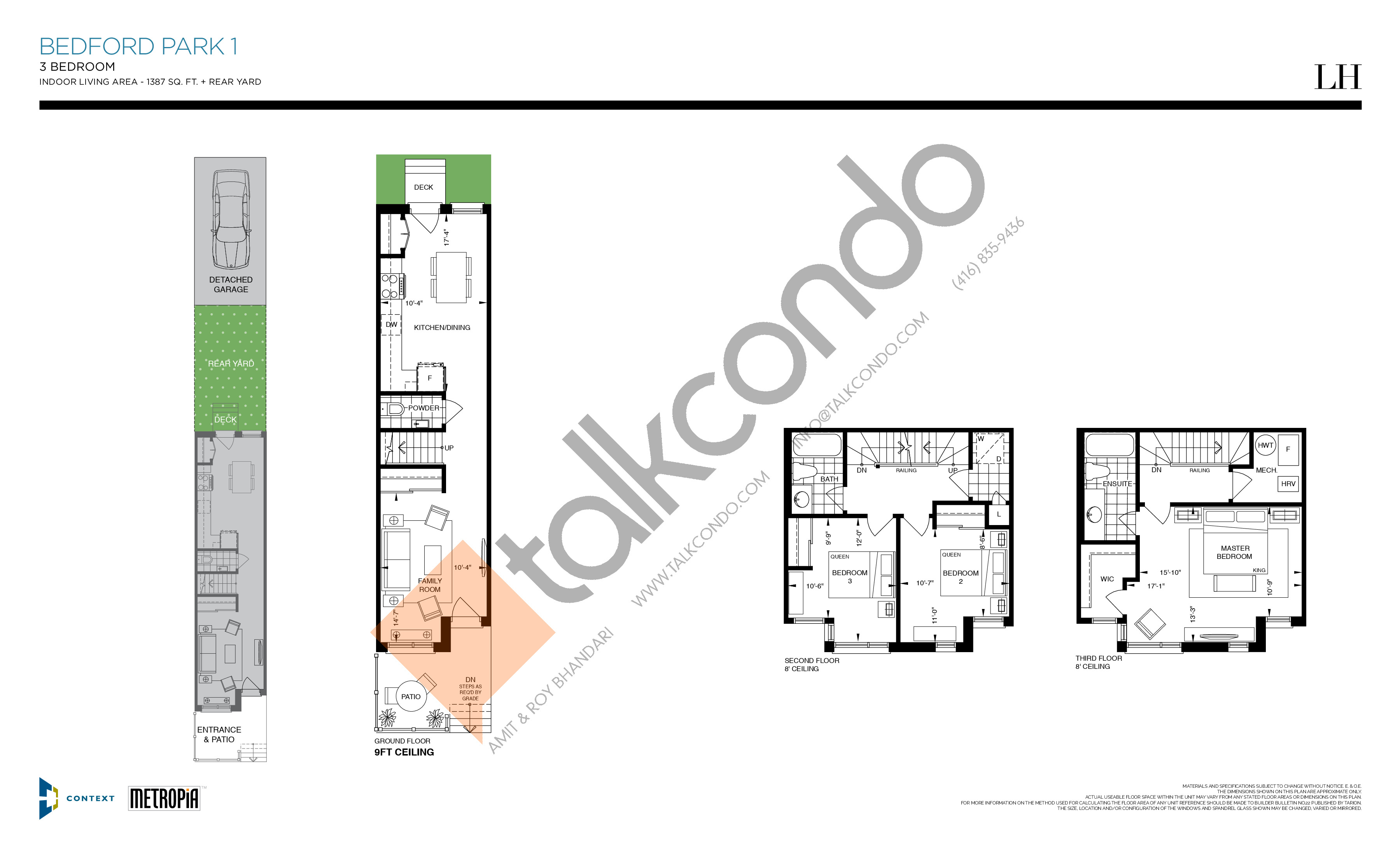 Bedford Park 1 Floor Plan at The New Lawrence Heights Phase 2 Condos - 1387 sq.ft