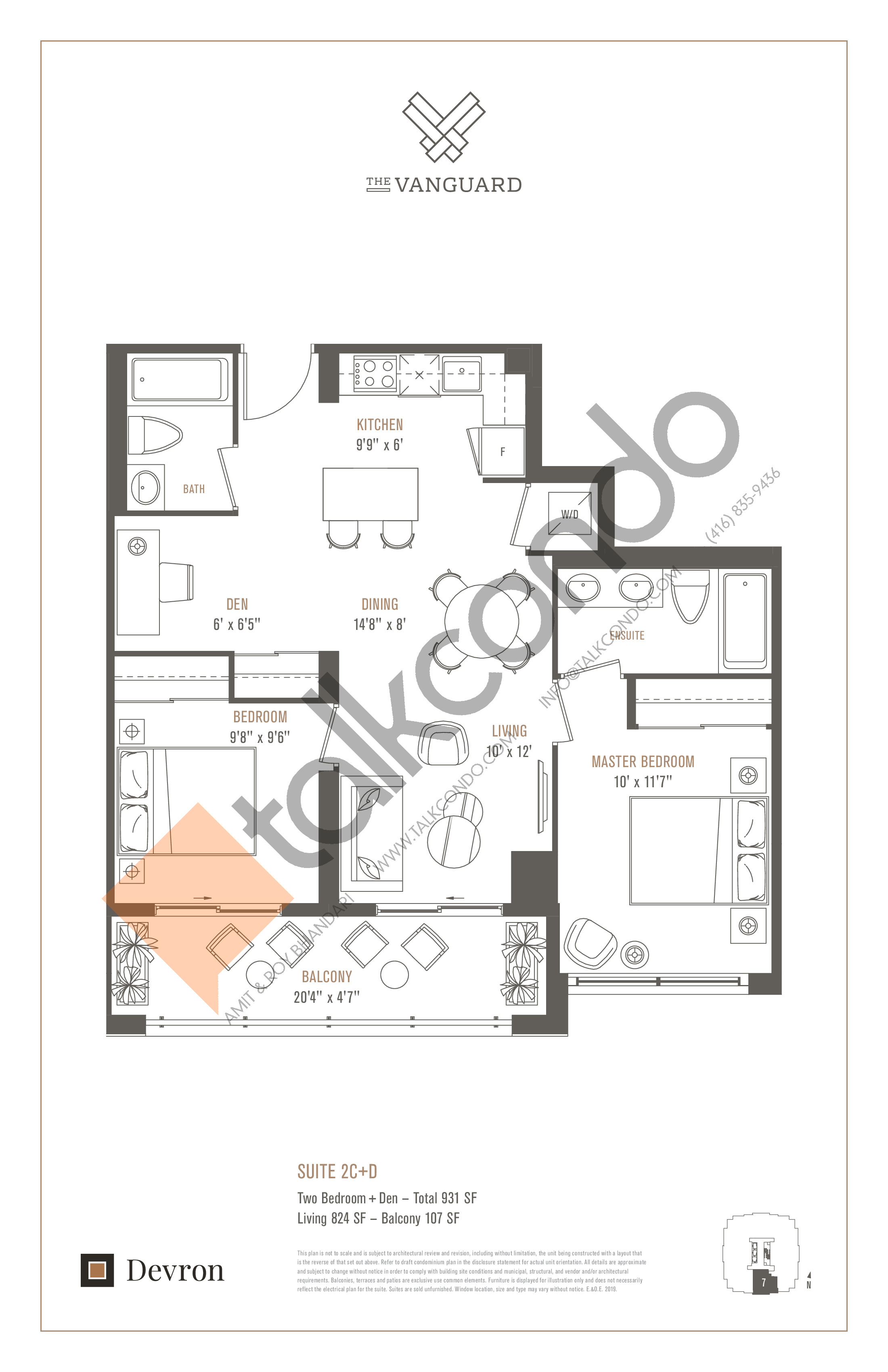 Suite 2C+D Floor Plan at The Vanguard - 824 sq.ft
