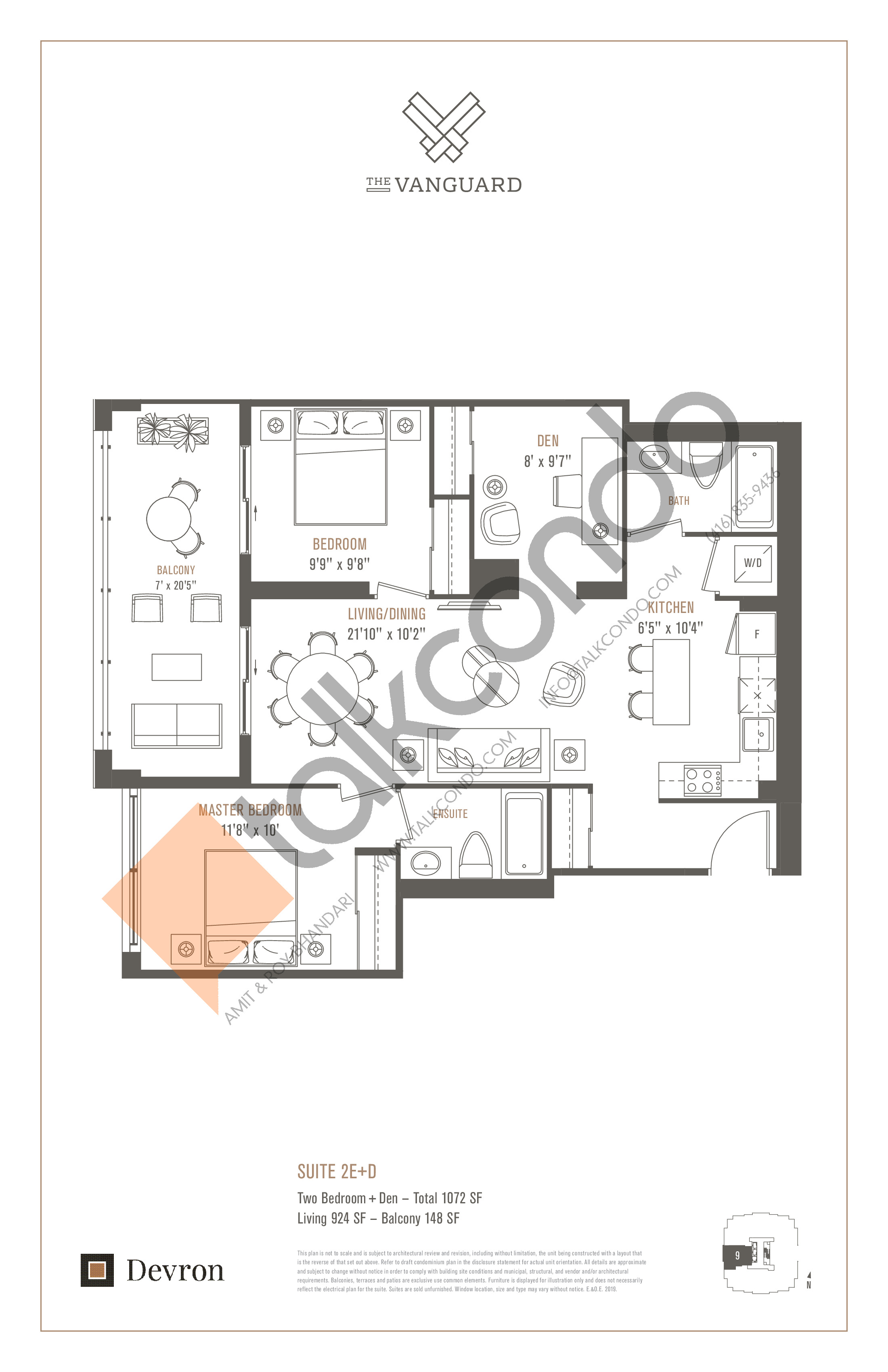 Suite 2E+D Floor Plan at The Vanguard - 924 sq.ft