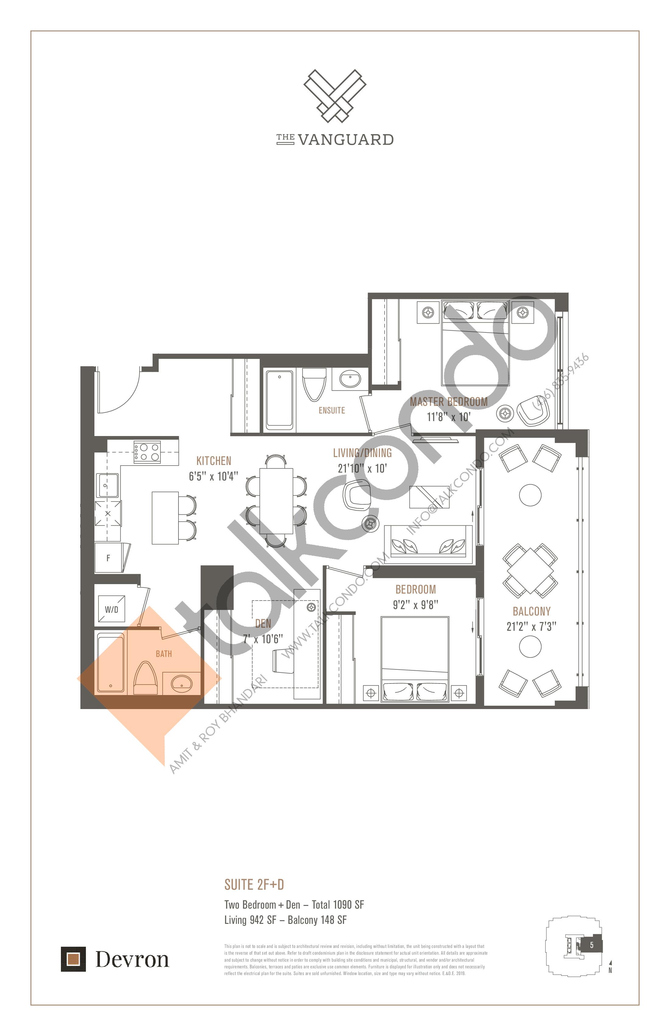 Suite 2F+D Floor Plan at The Vanguard - 942 sq.ft