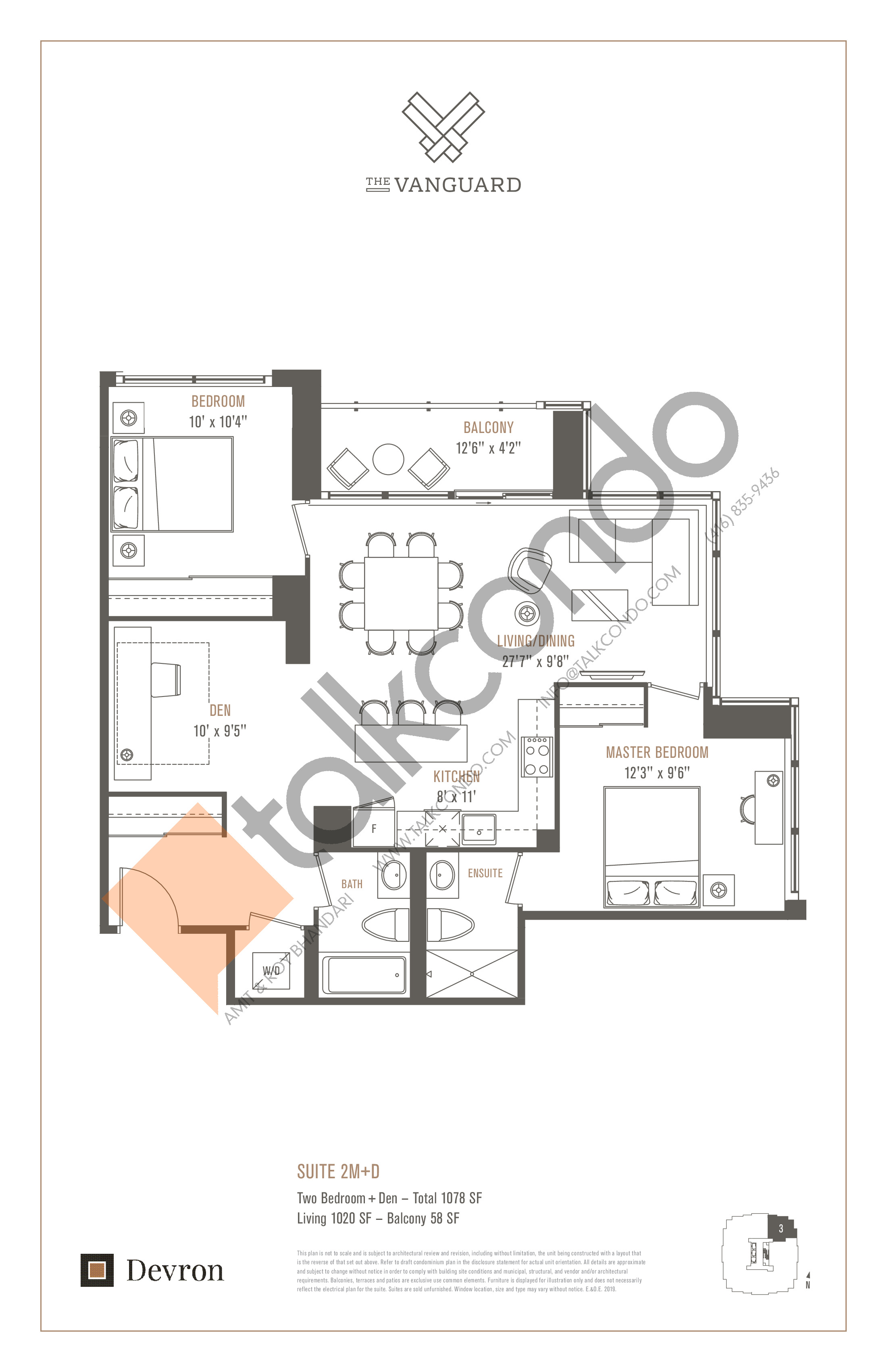 Suite 2M+D Floor Plan at The Vanguard - 1020 sq.ft