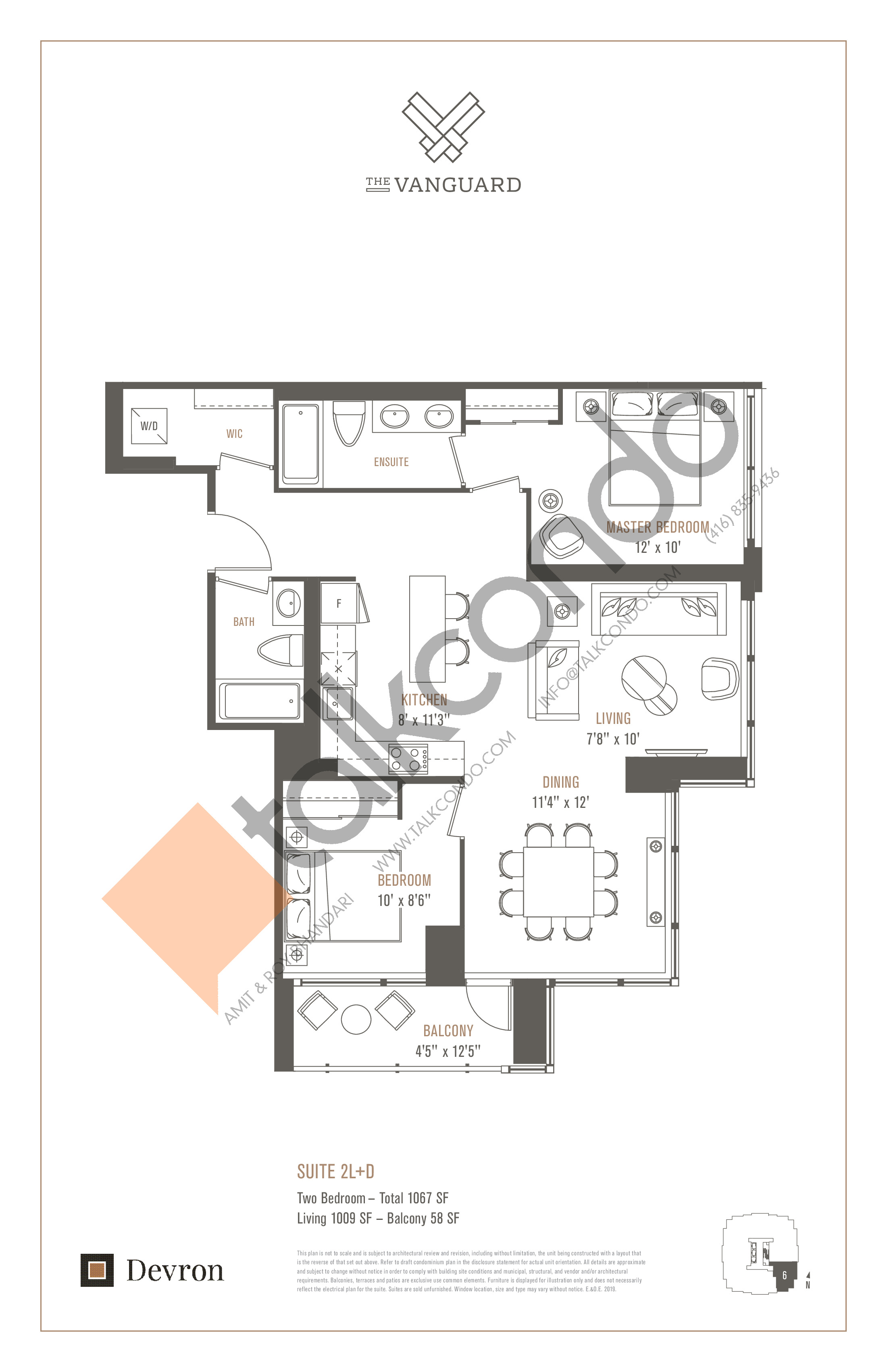 Suite 2L+D Floor Plan at The Vanguard - 1009 sq.ft