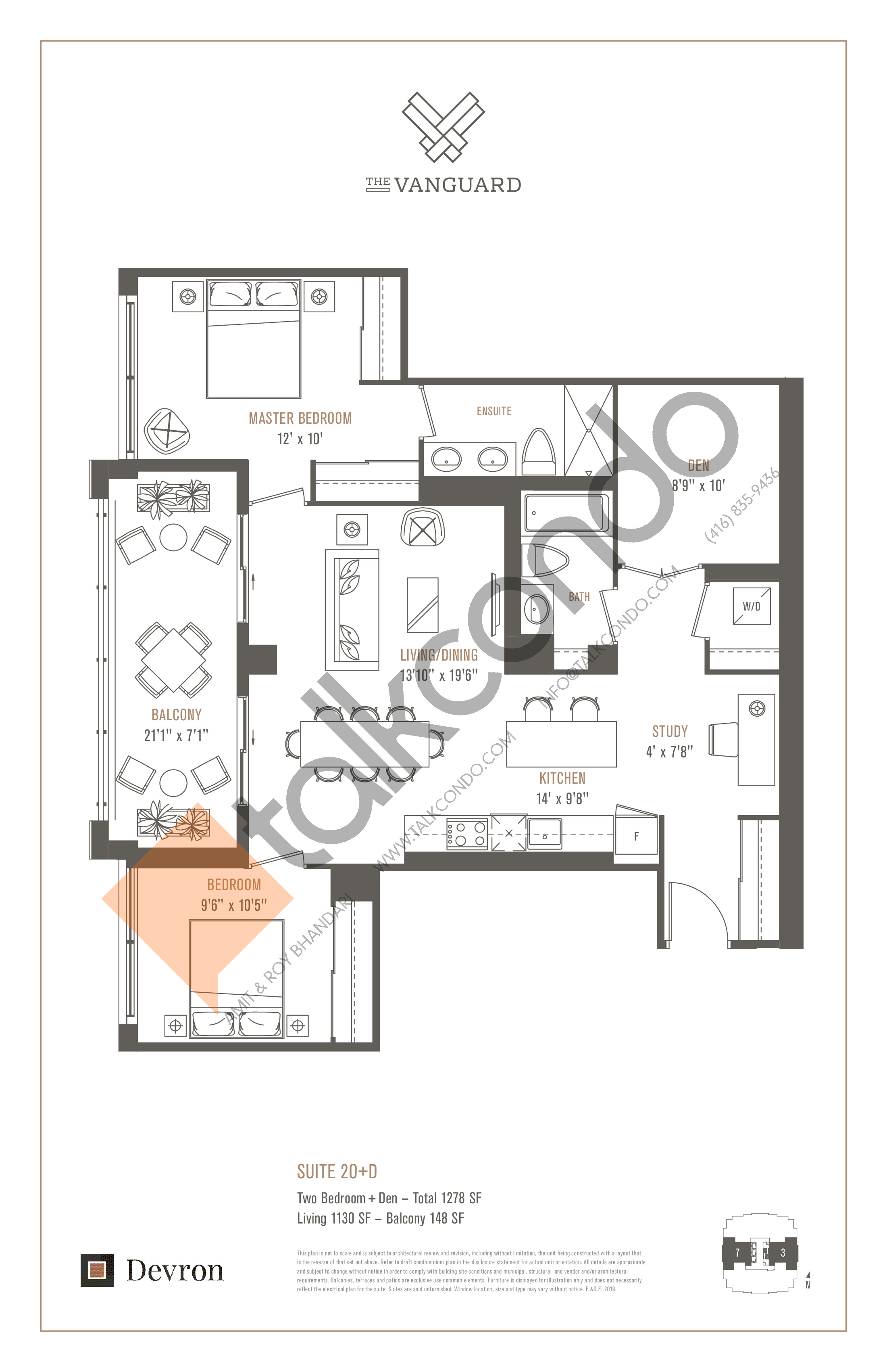 Suite 2O+D Floor Plan at The Vanguard - 1130 sq.ft