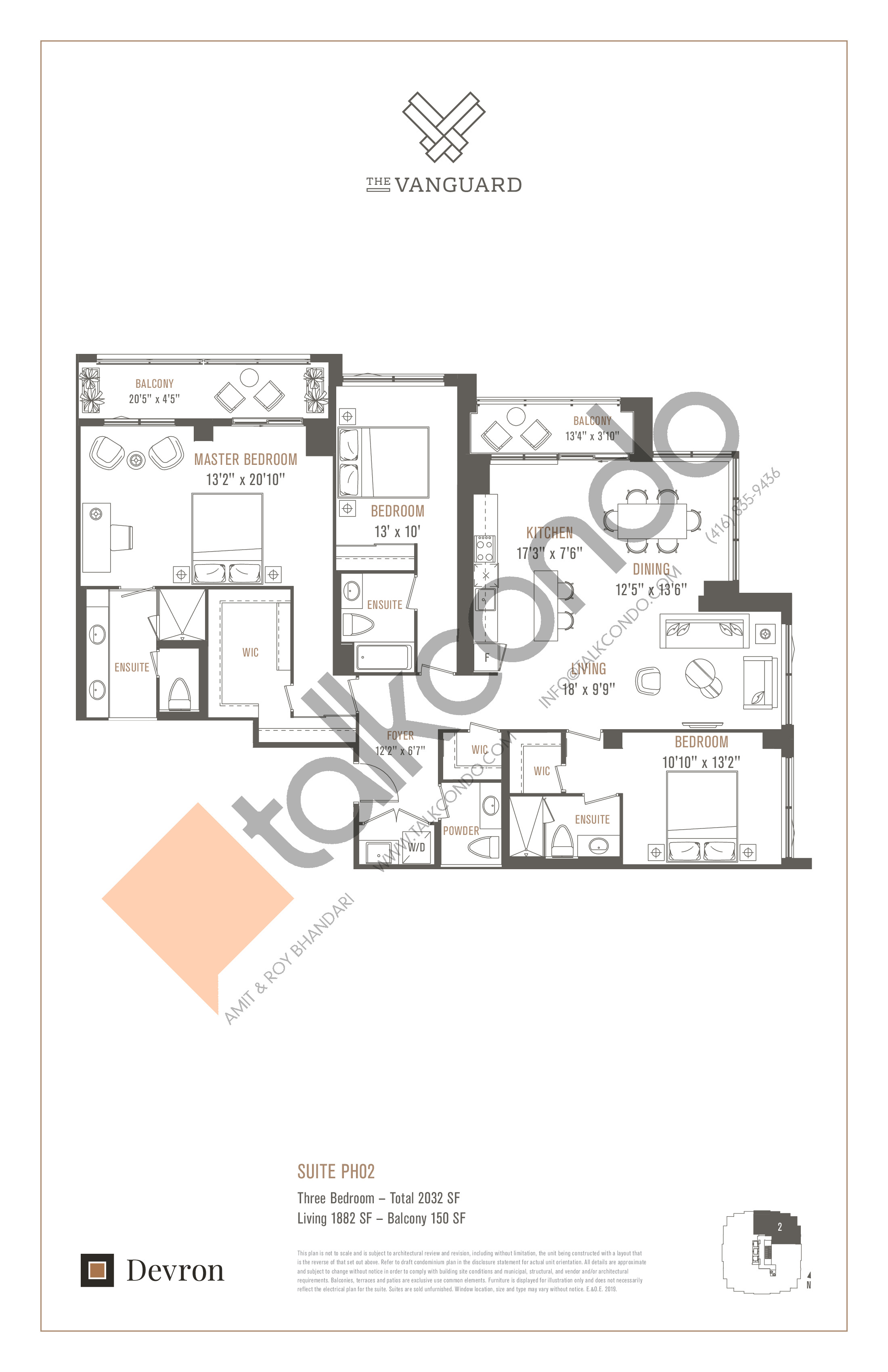 Suite PH02 Floor Plan at The Vanguard - 1882 sq.ft