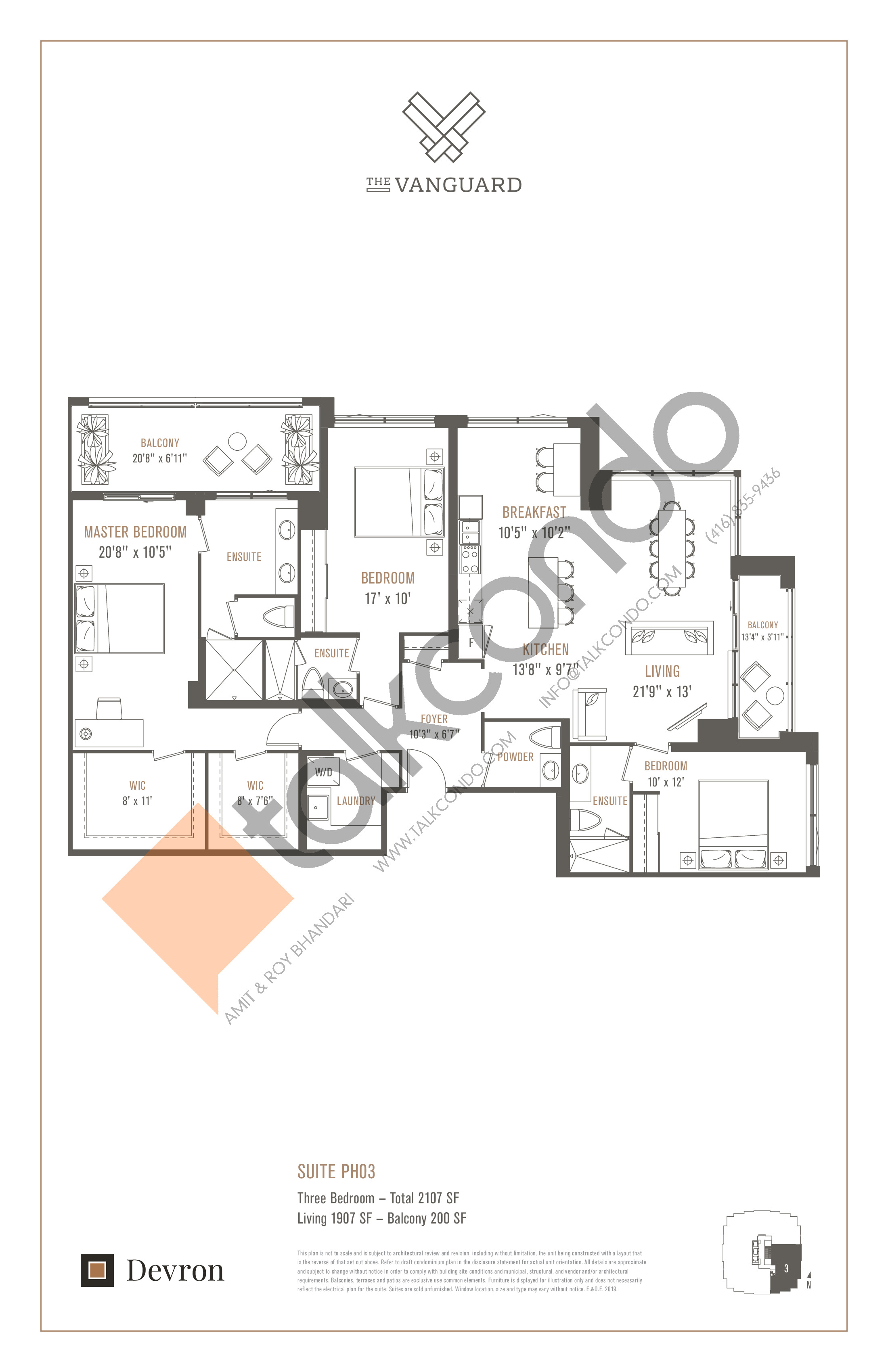 Suite PH03 Floor Plan at The Vanguard - 1907 sq.ft