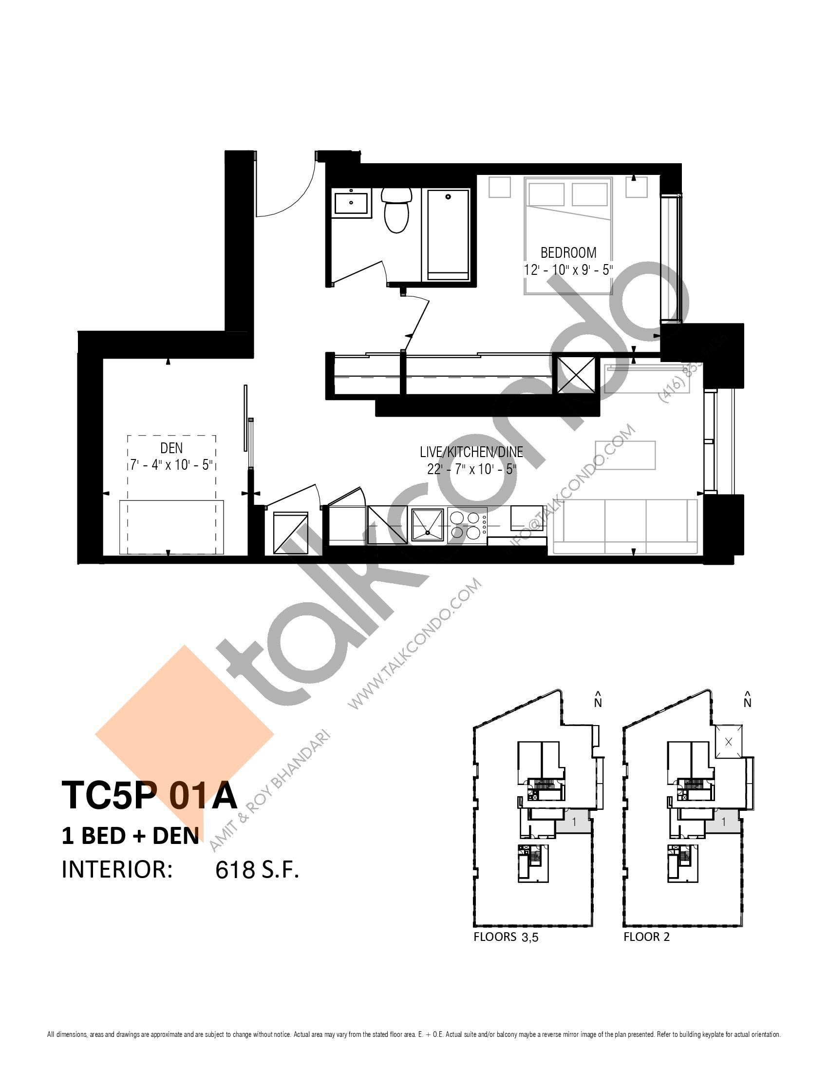 TC5P 01A Floor Plan at Transit City 5 (TC5) Condos - 618 sq.ft
