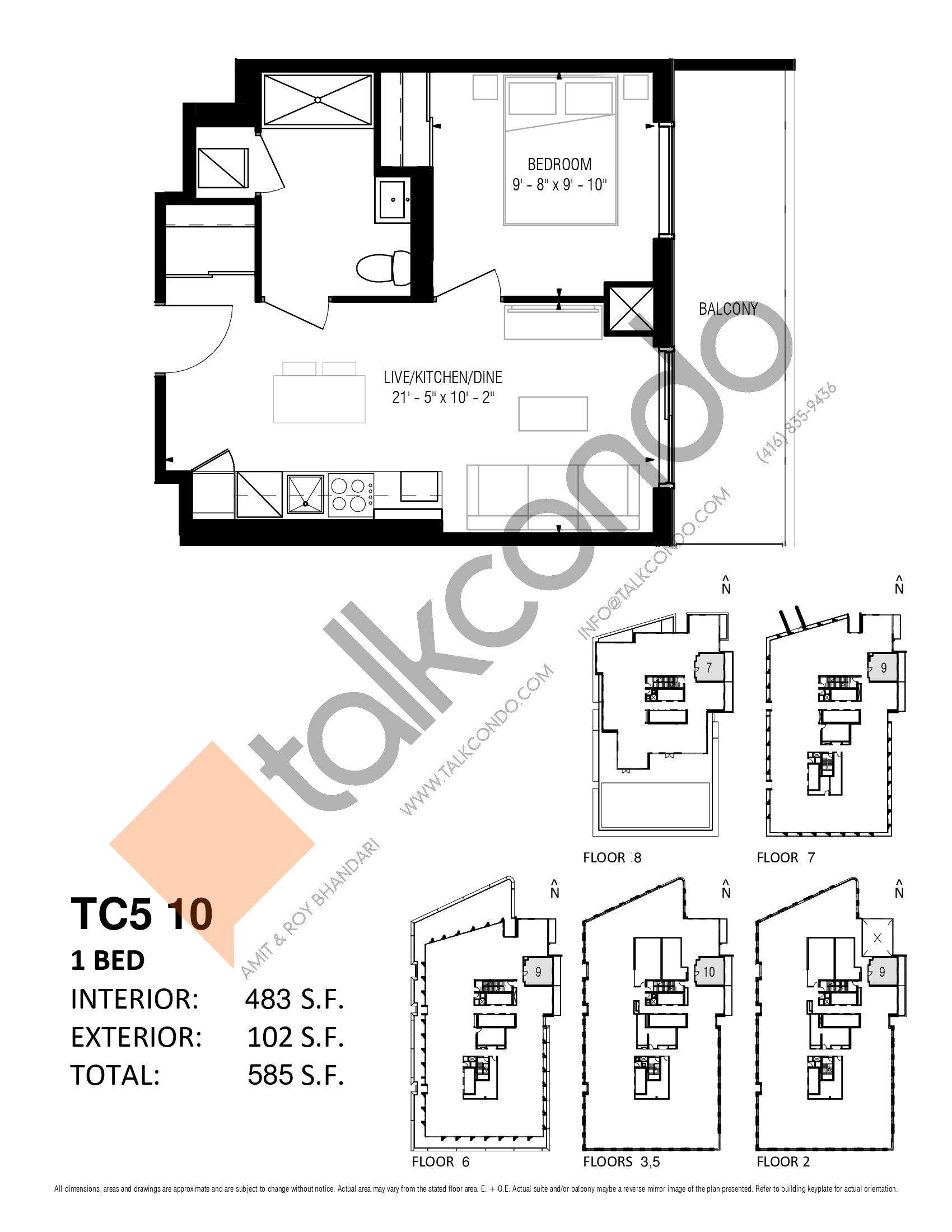 TC5 10 Floor Plan at Transit City 5 (TC5) Condos - 483 sq.ft
