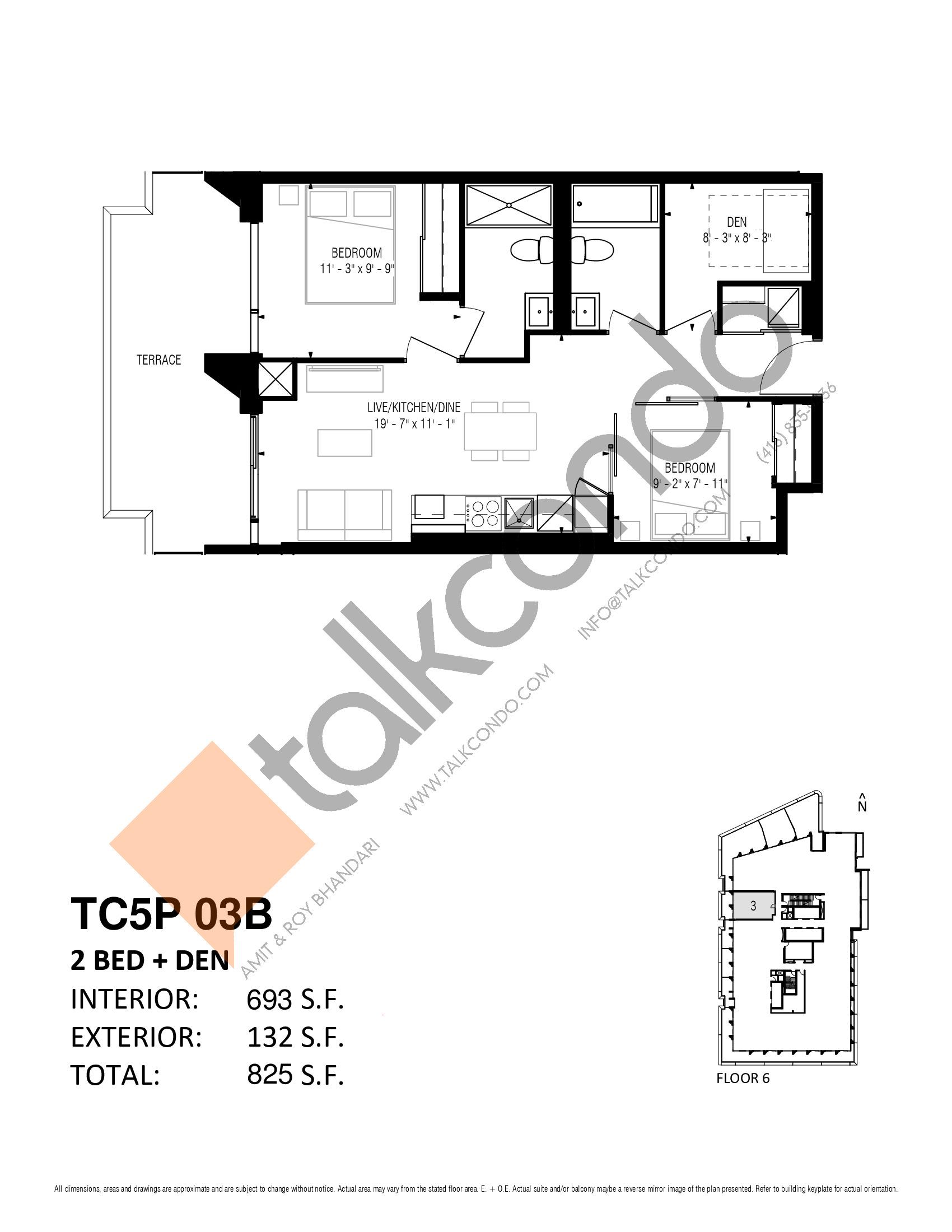 TC5P 03B Floor Plan at Transit City 5 (TC5) Condos - 693 sq.ft