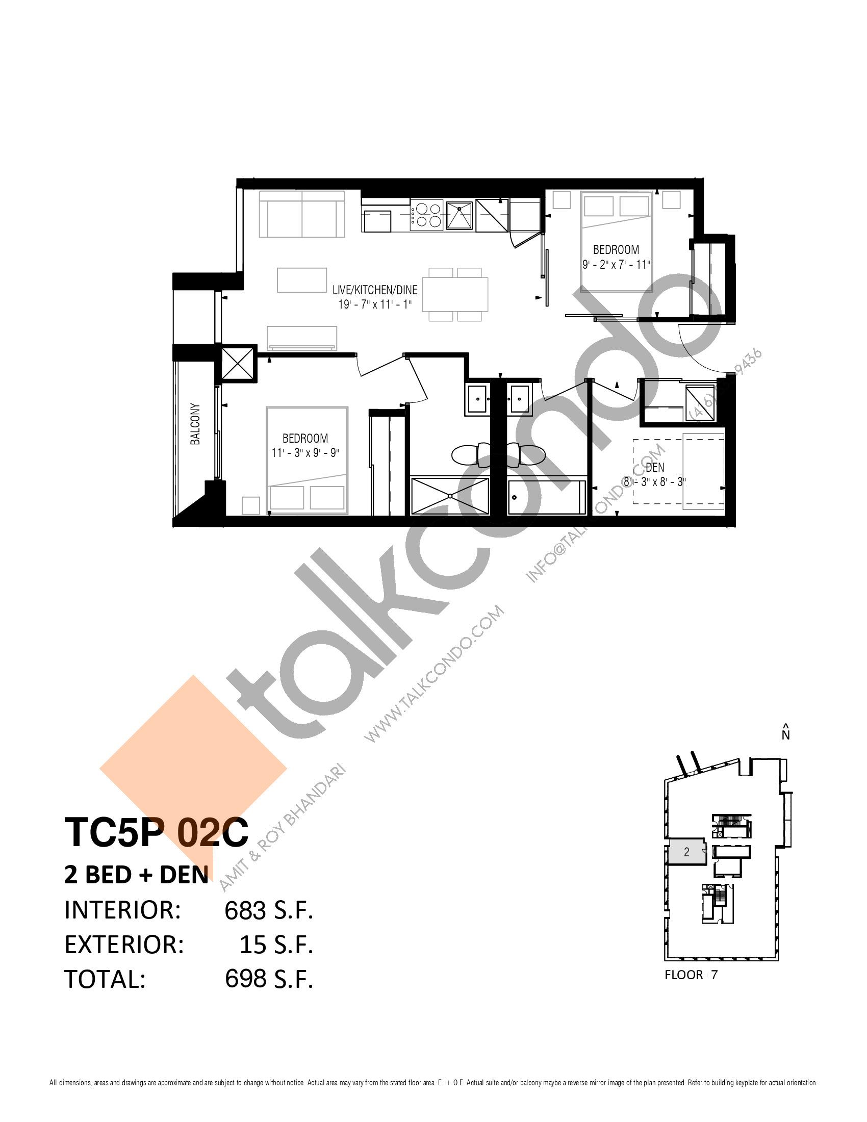 TC5P 02C Floor Plan at Transit City 5 (TC5) Condos - 683 sq.ft