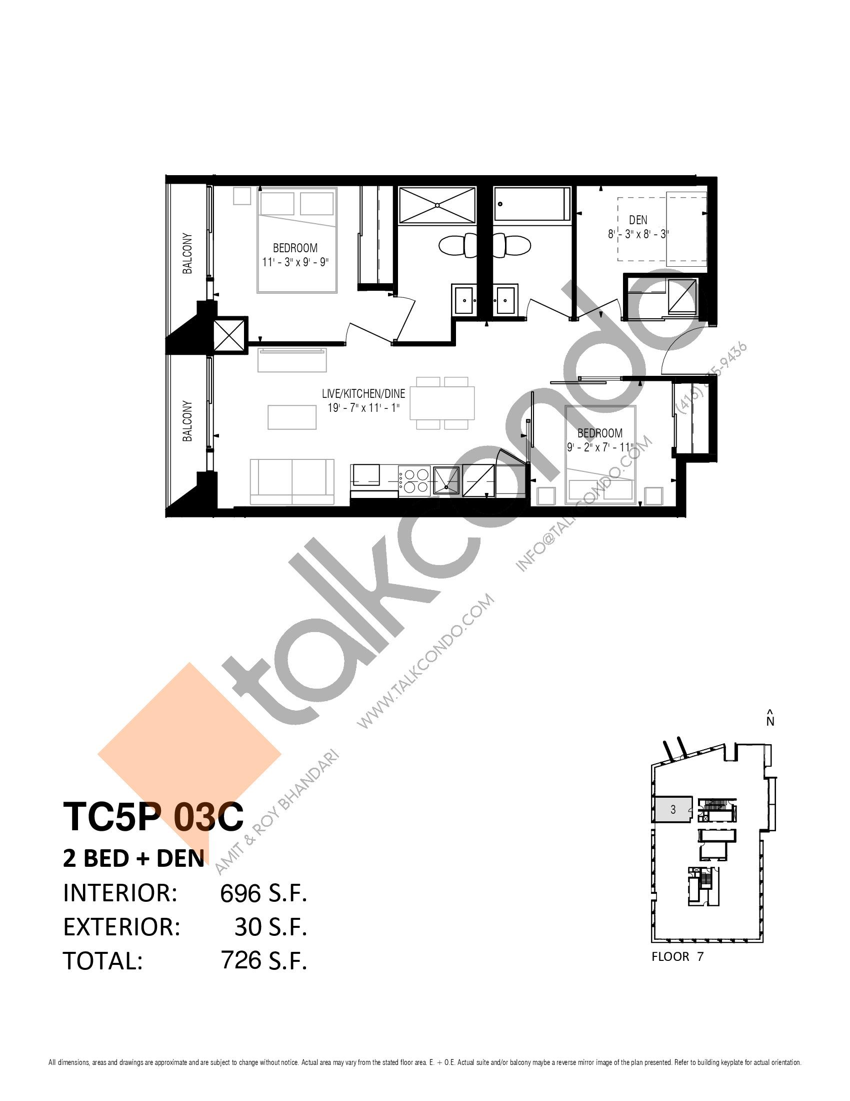 TC5P 03C Floor Plan at Transit City 5 (TC5) Condos - 696 sq.ft