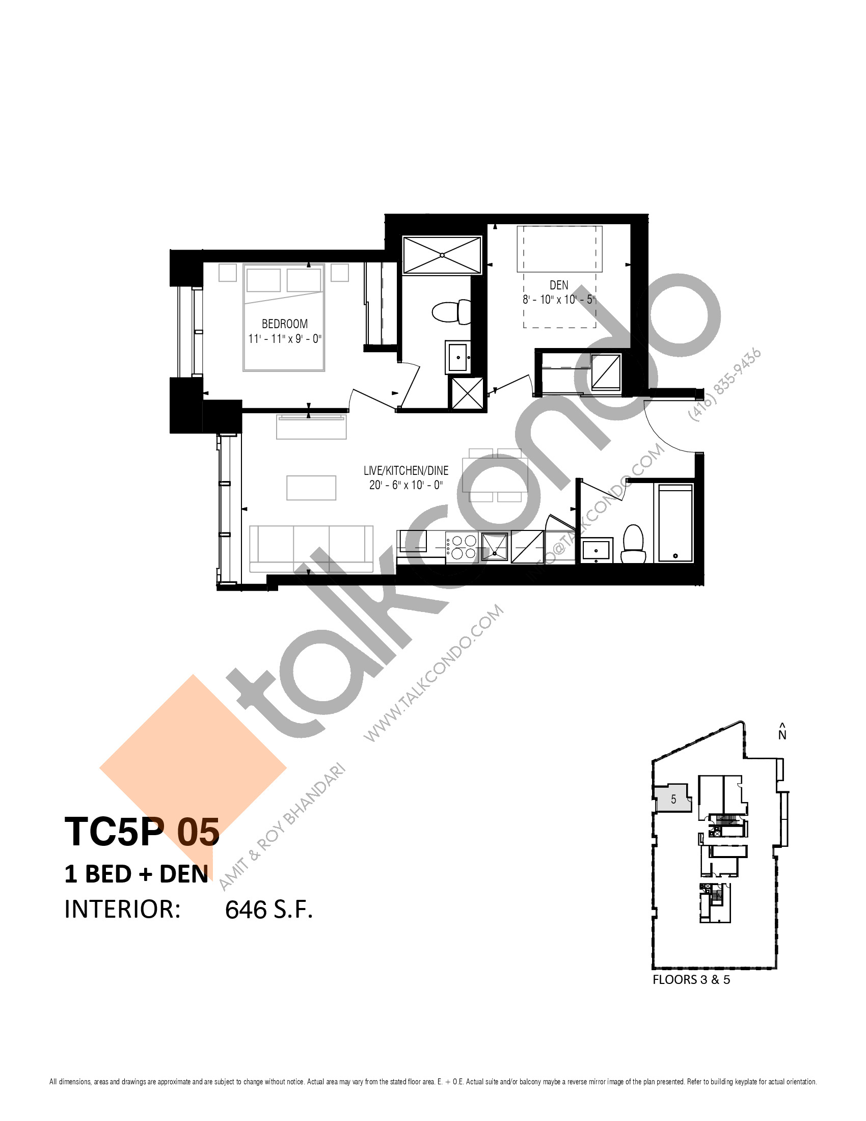 TC5P 05 (Podium) Floor Plan at Transit City 5 (TC5) Condos - 646 sq.ft