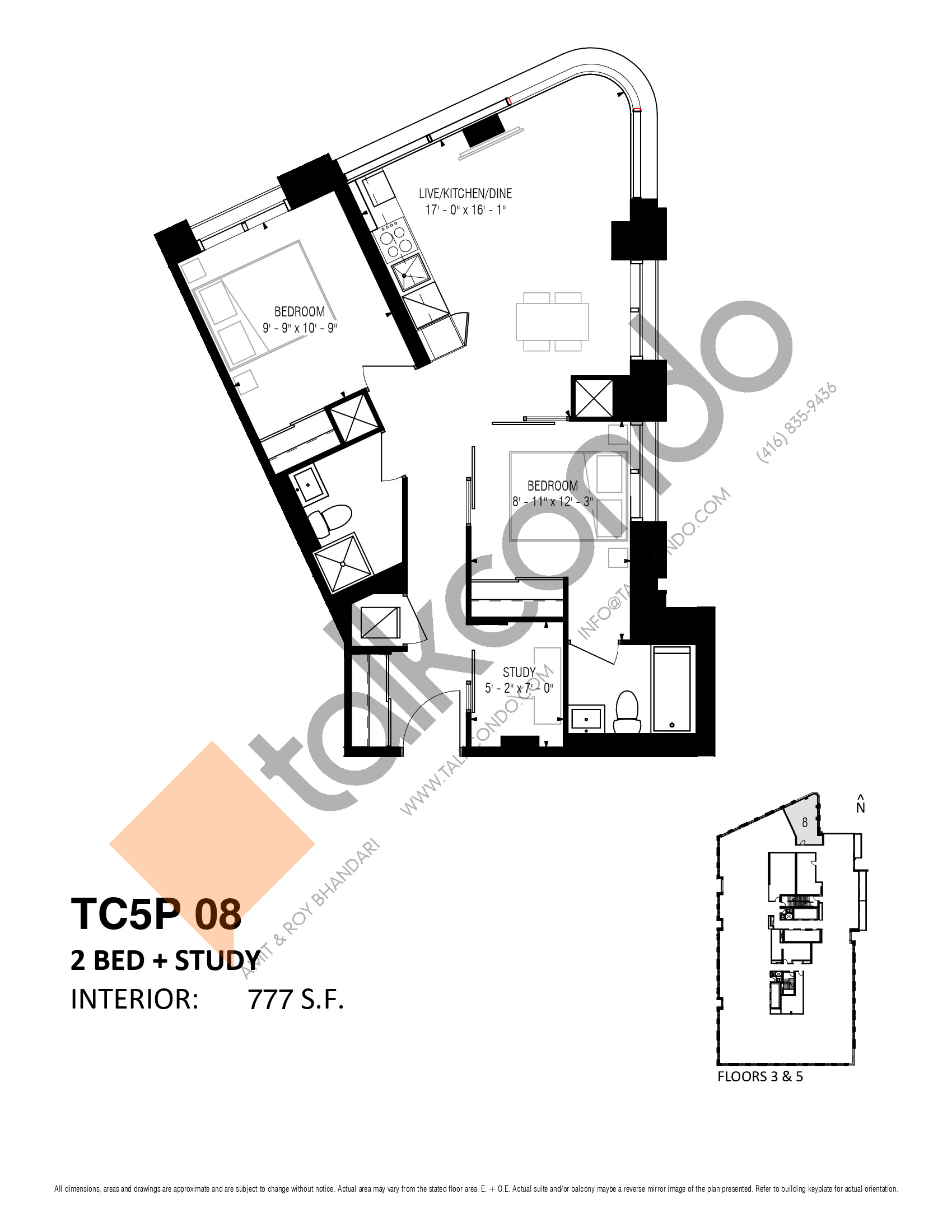 TC5P 08 (Podium) Floor Plan at Transit City 5 (TC5) Condos - 777 sq.ft