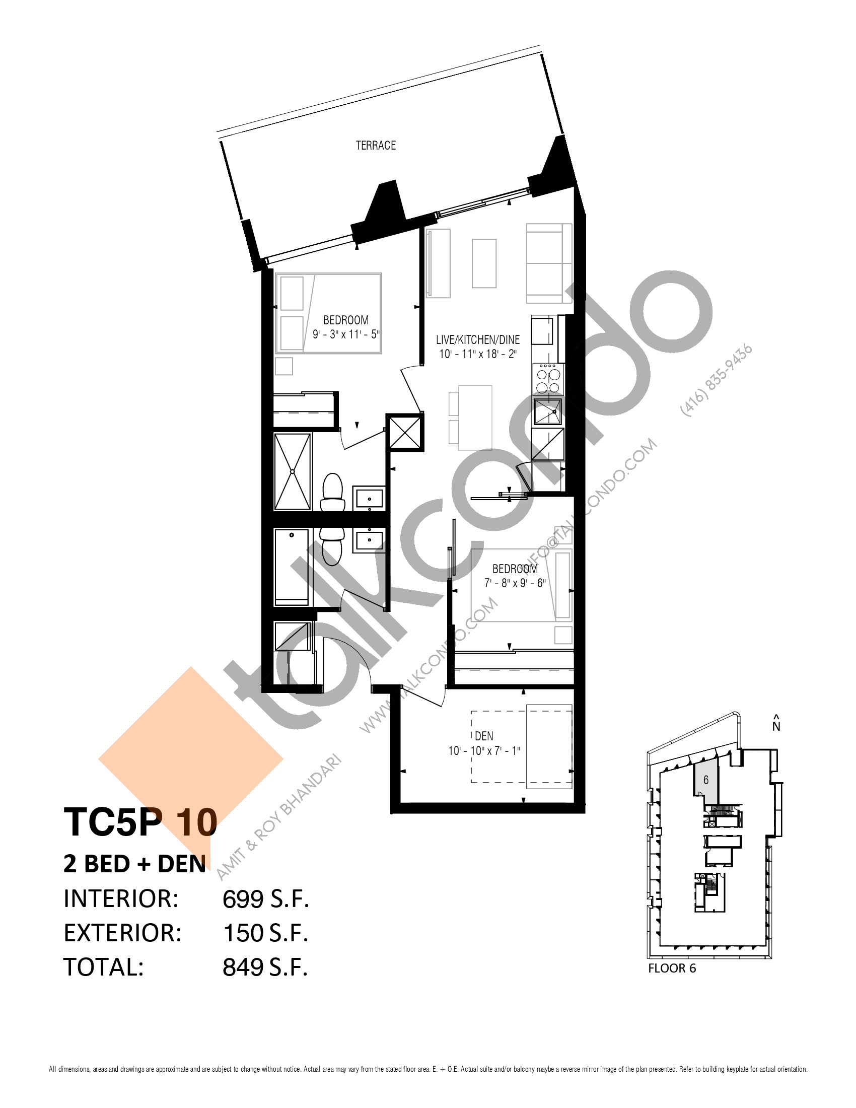 TC5P 10 (Podium) Floor Plan at Transit City 5 (TC5) Condos - 699 sq.ft