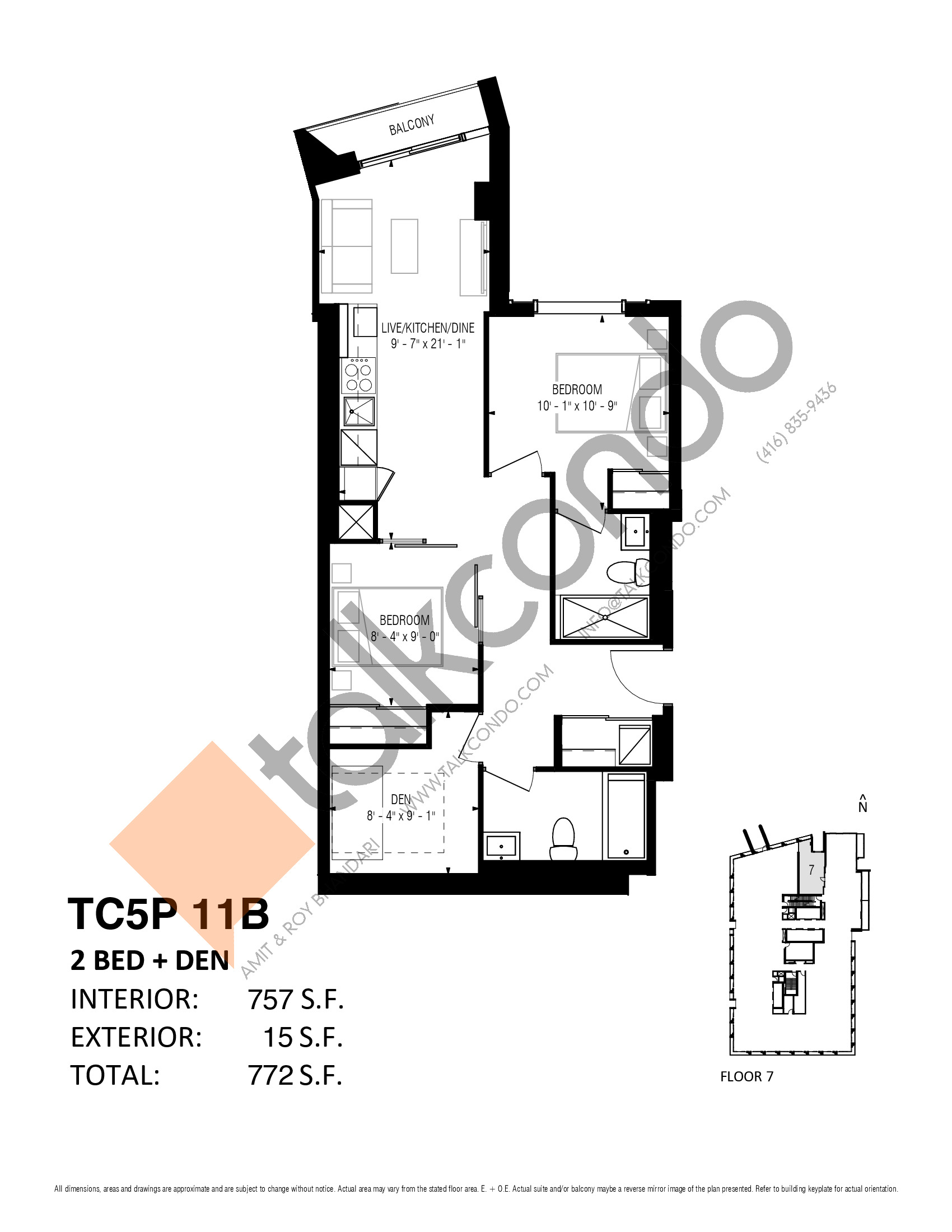 TC5P 11B (Podium) Floor Plan at Transit City 5 (TC5) Condos - 757 sq.ft