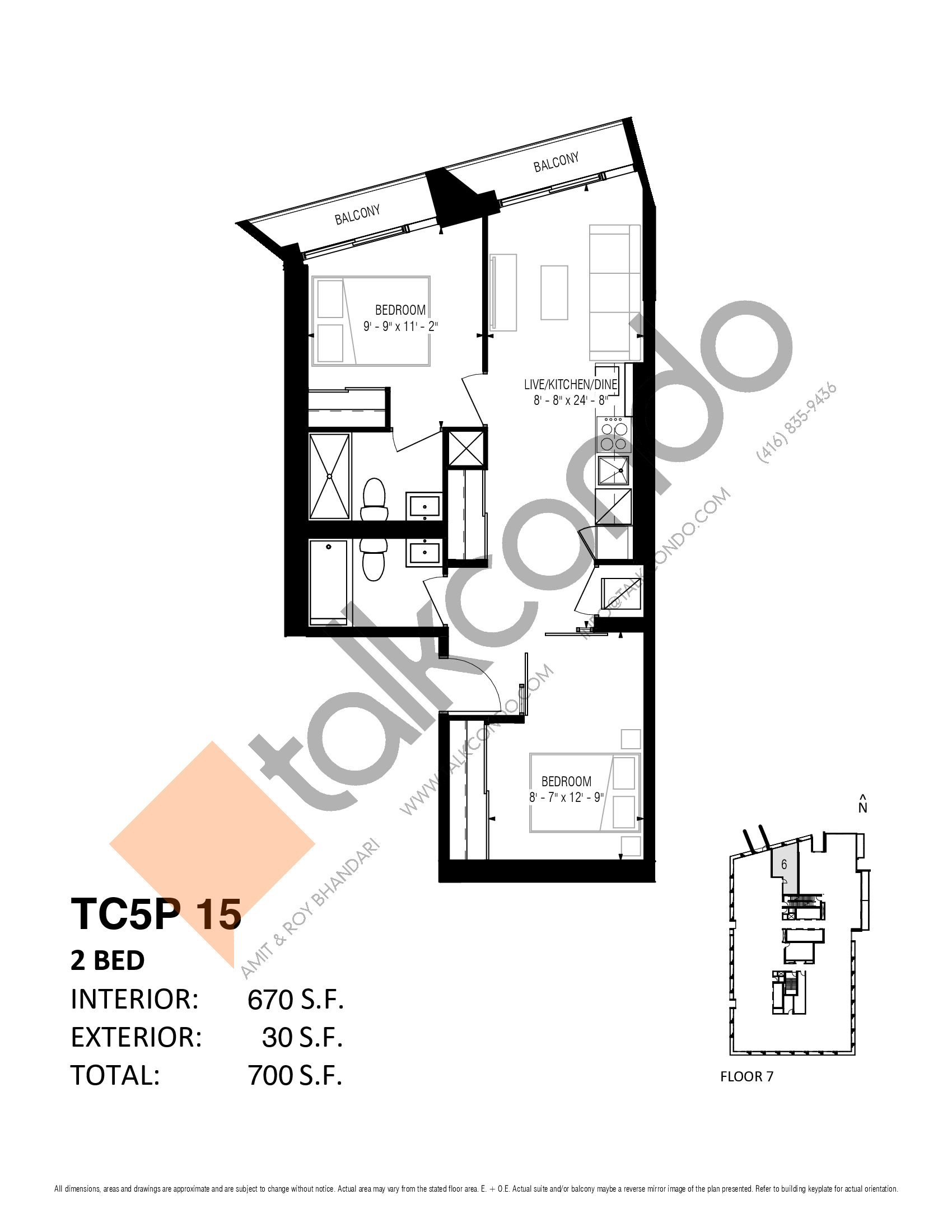 TC5P 15 (Podium) Floor Plan at Transit City 5 (TC5) Condos - 670 sq.ft