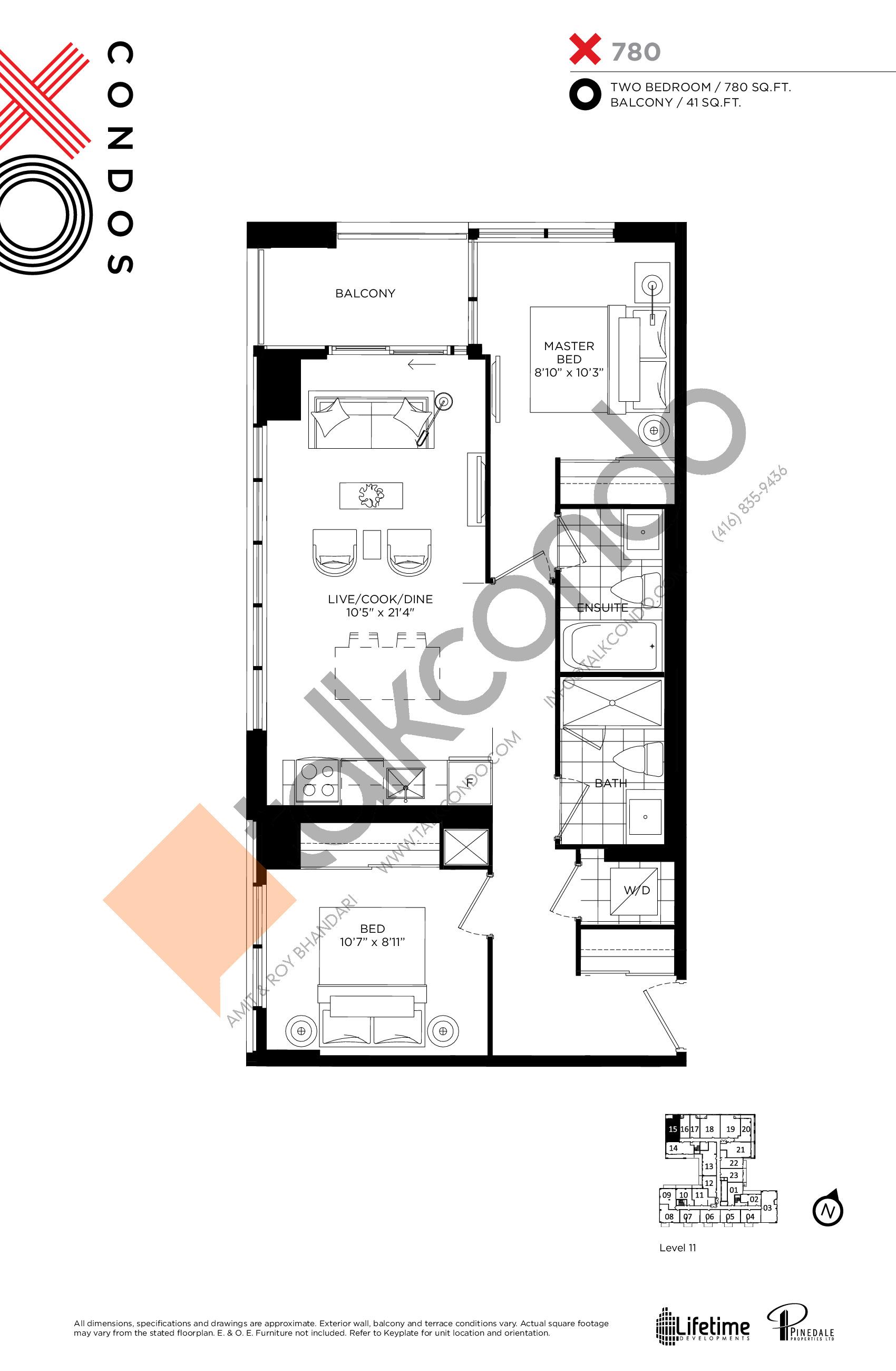 780 Floor Plan at XO Condos - 780 sq.ft
