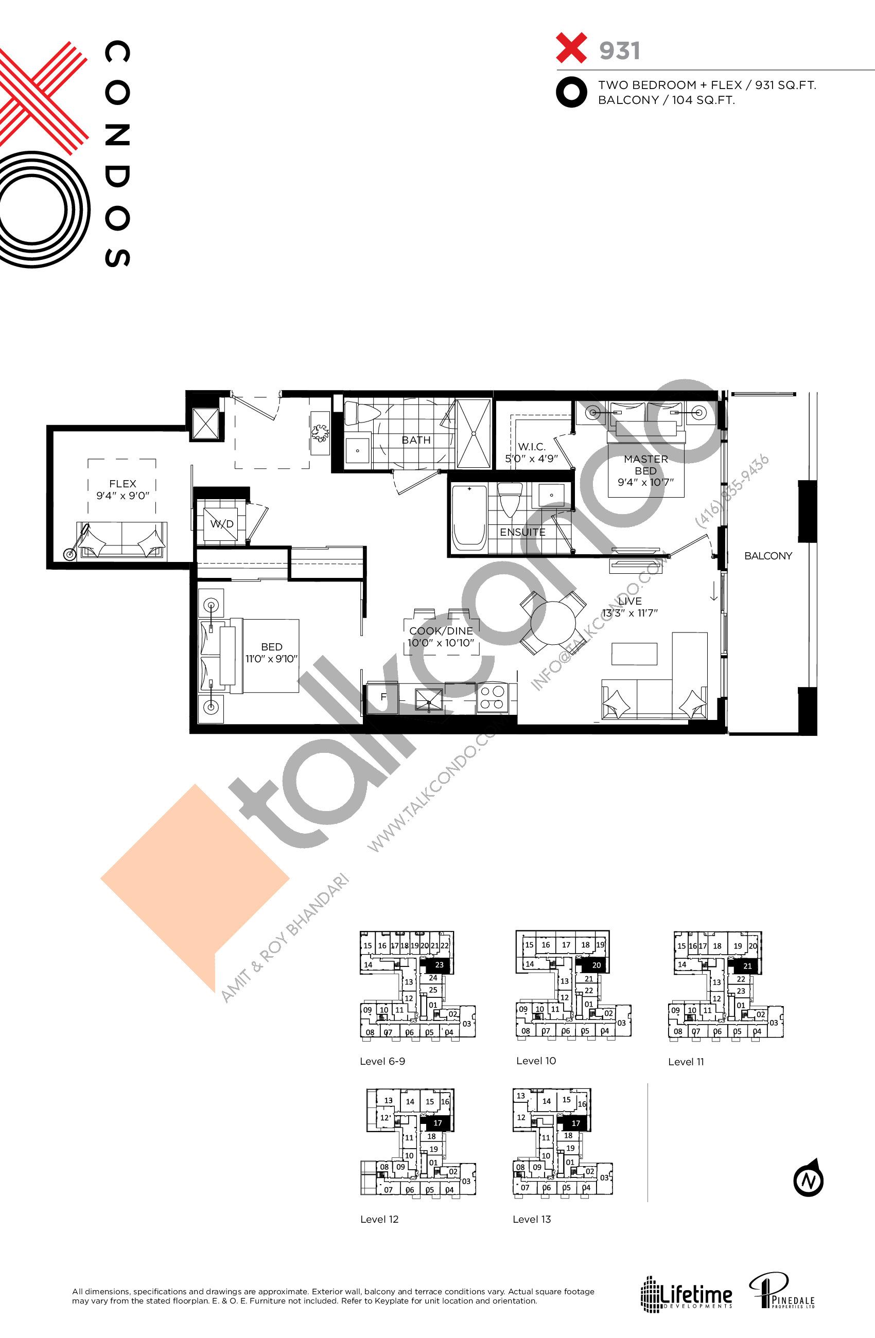 931 Floor Plan at XO Condos - 931 sq.ft