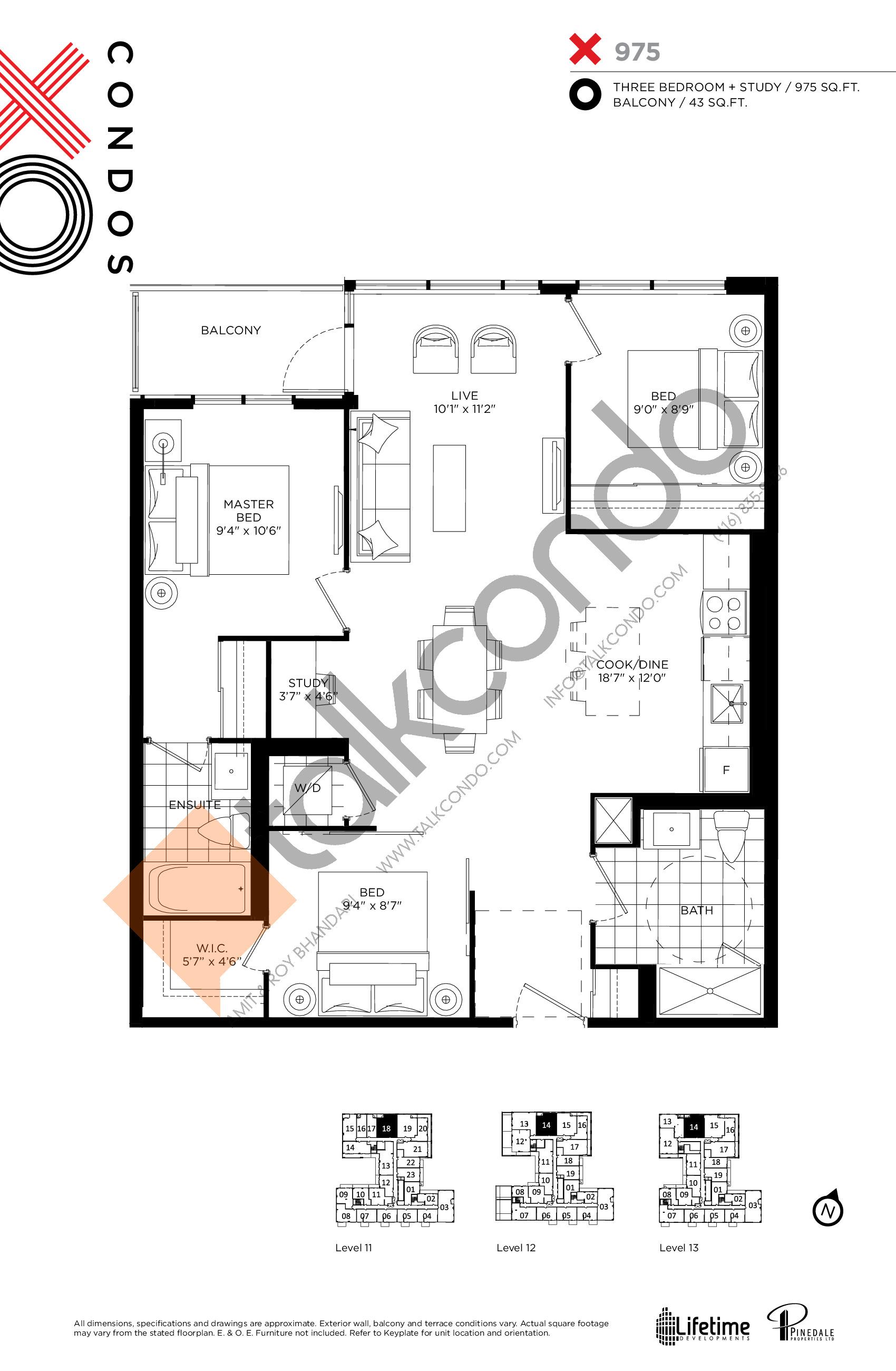 975 Floor Plan at XO Condos - 975 sq.ft