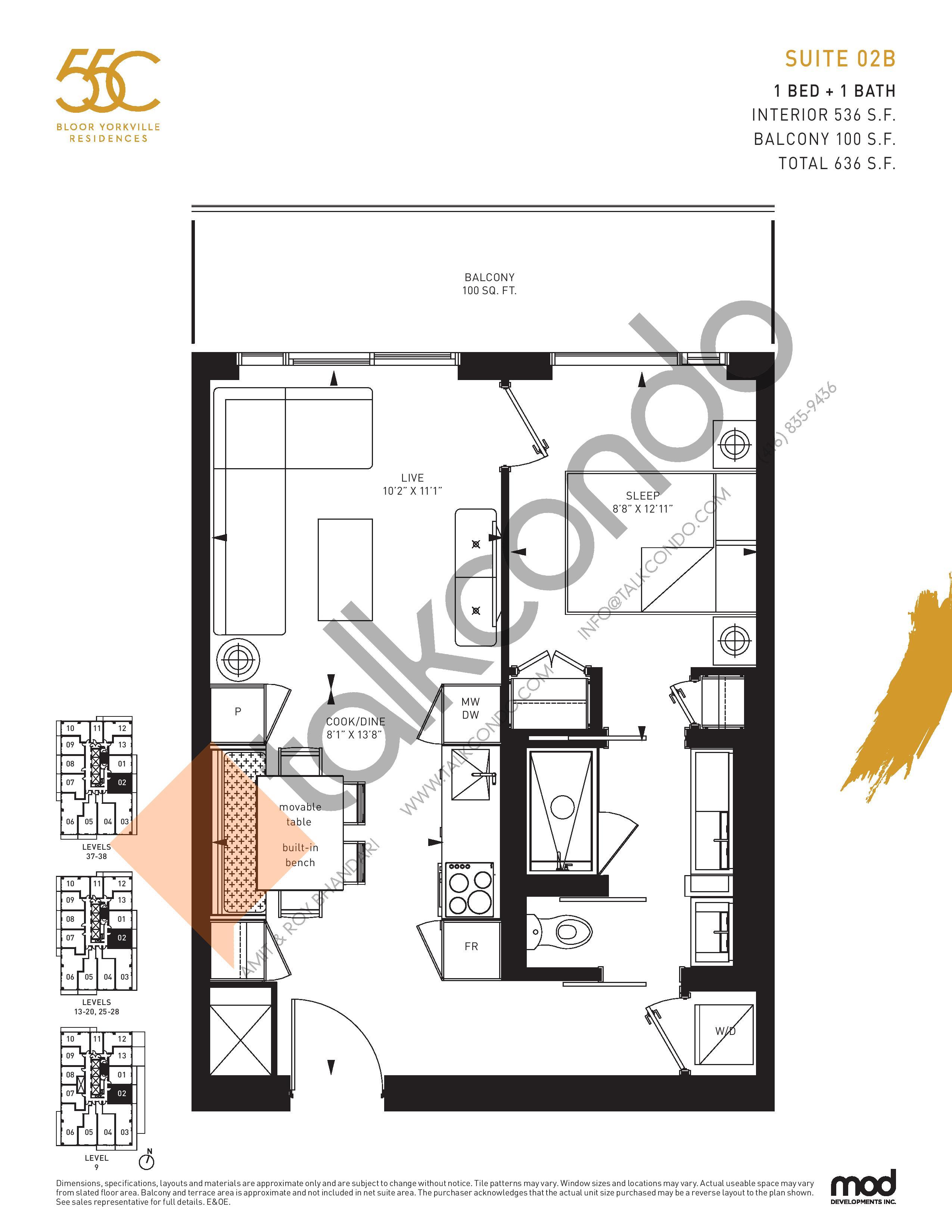 Suite 02B Floor Plan at 55C Condos - 536 sq.ft