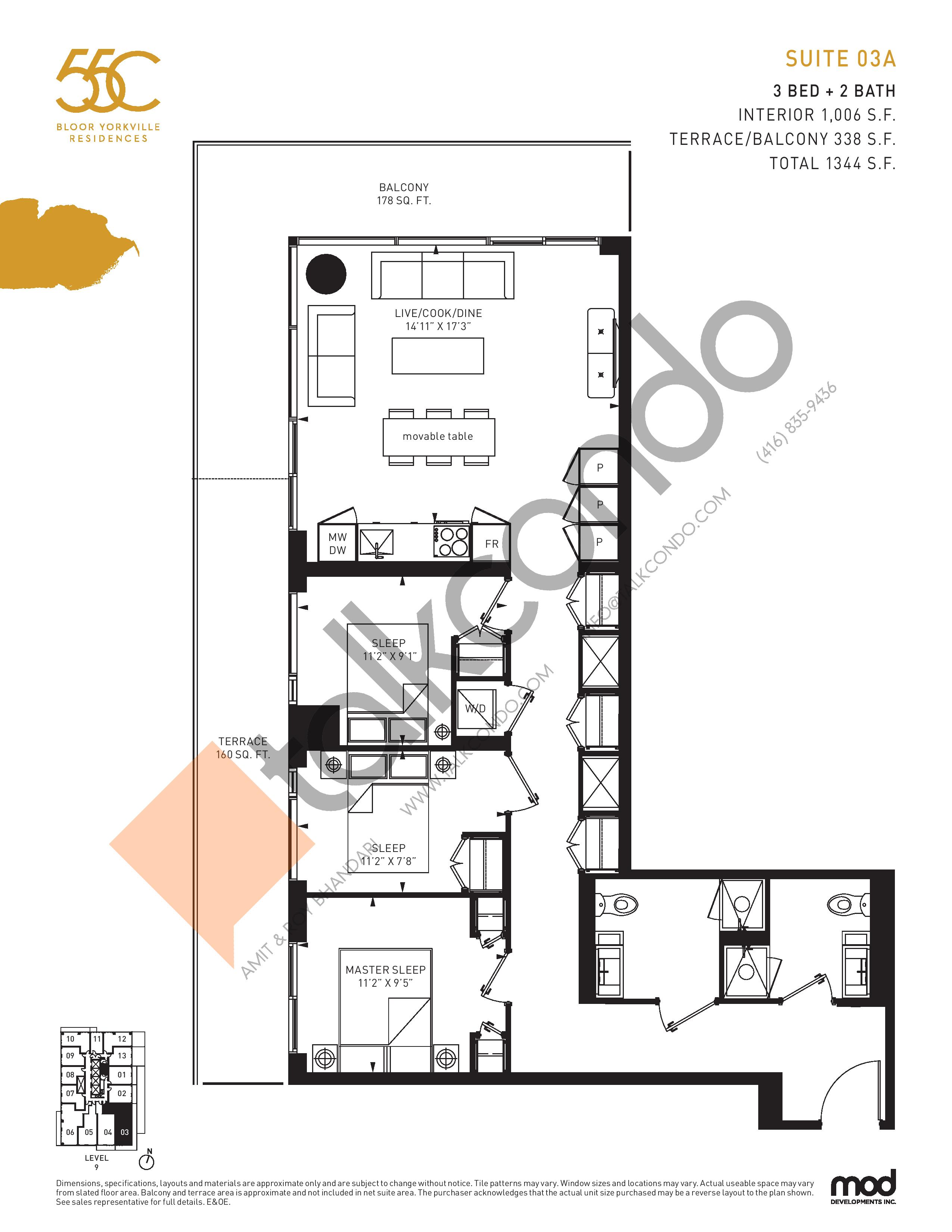 Suite 03A Floor Plan at 55C Condos - 1006 sq.ft