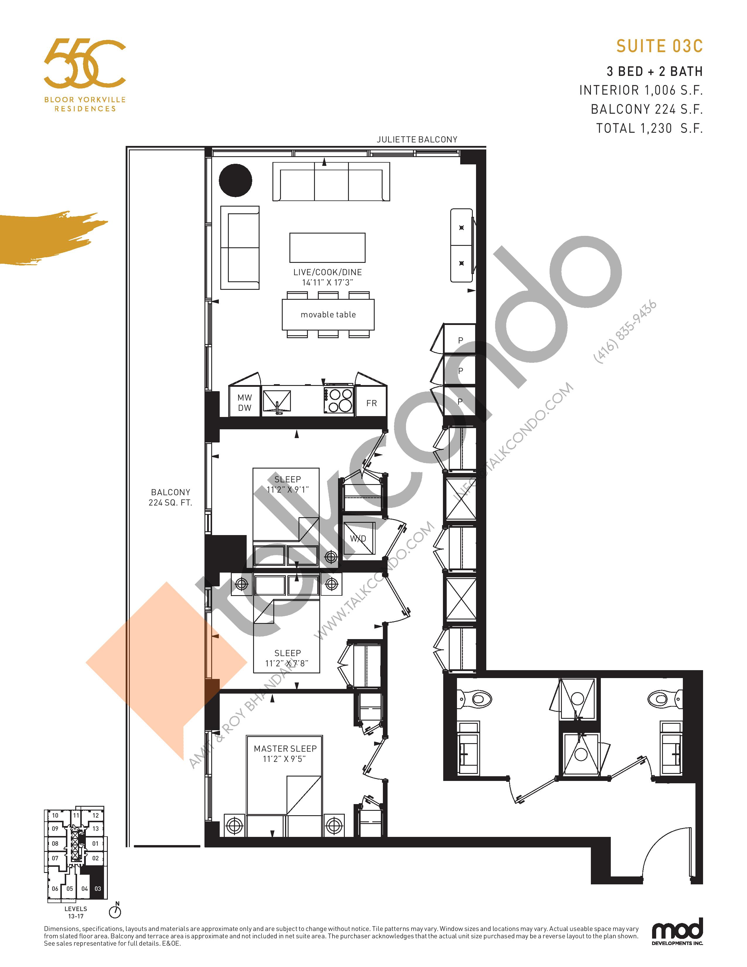 Suite 03C Floor Plan at 55C Condos - 1006 sq.ft