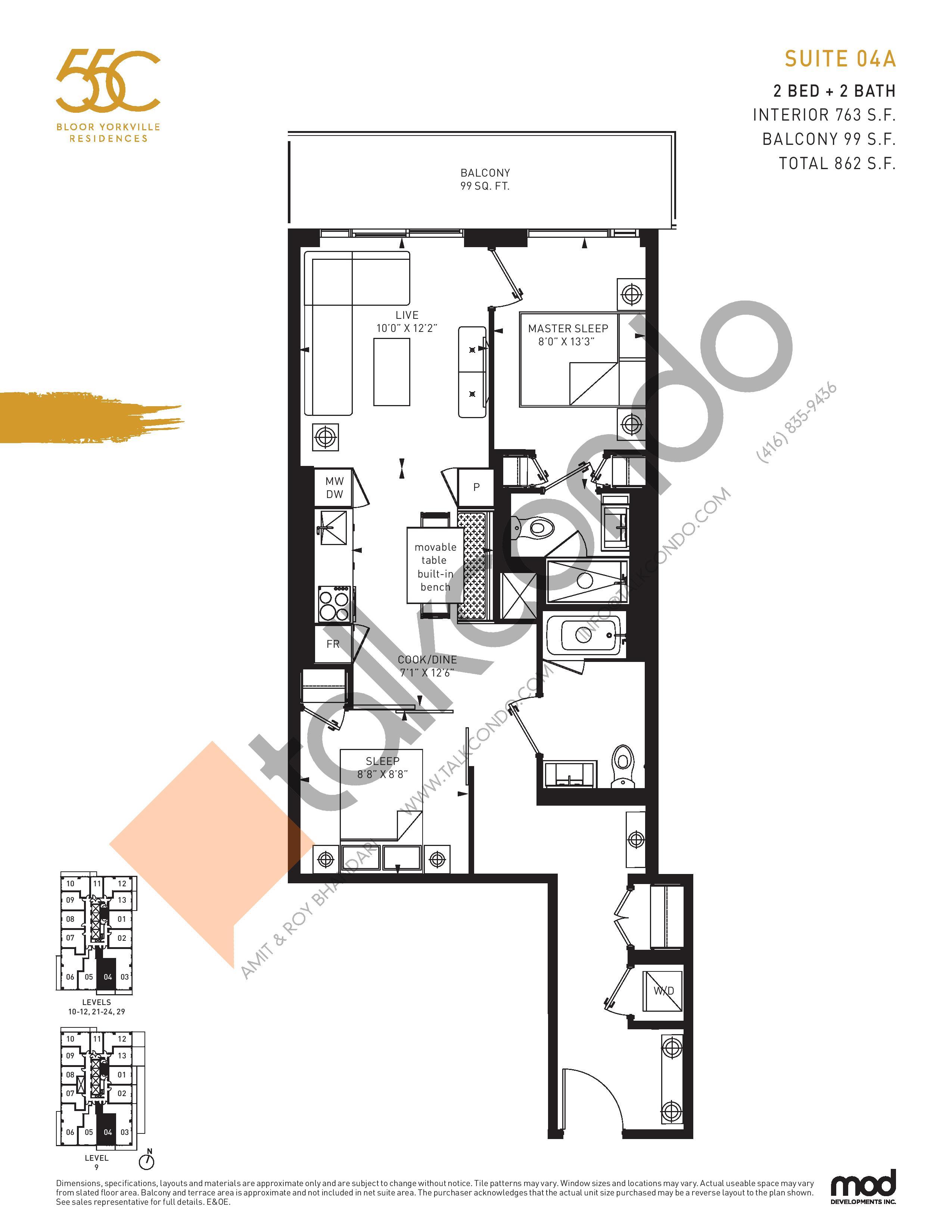 Suite 04A Floor Plan at 55C Condos - 763 sq.ft