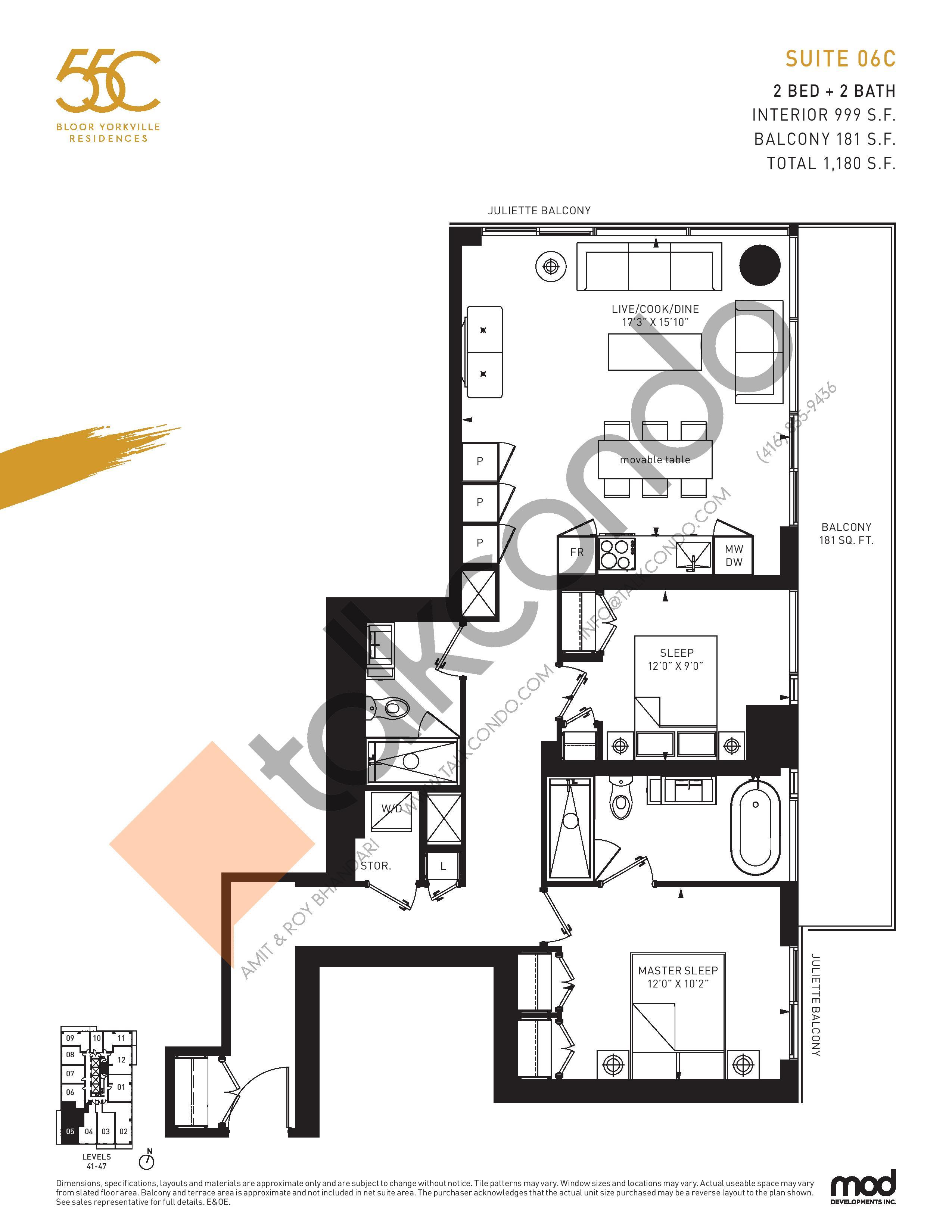Suite 06C Floor Plan at 55C Condos - 999 sq.ft