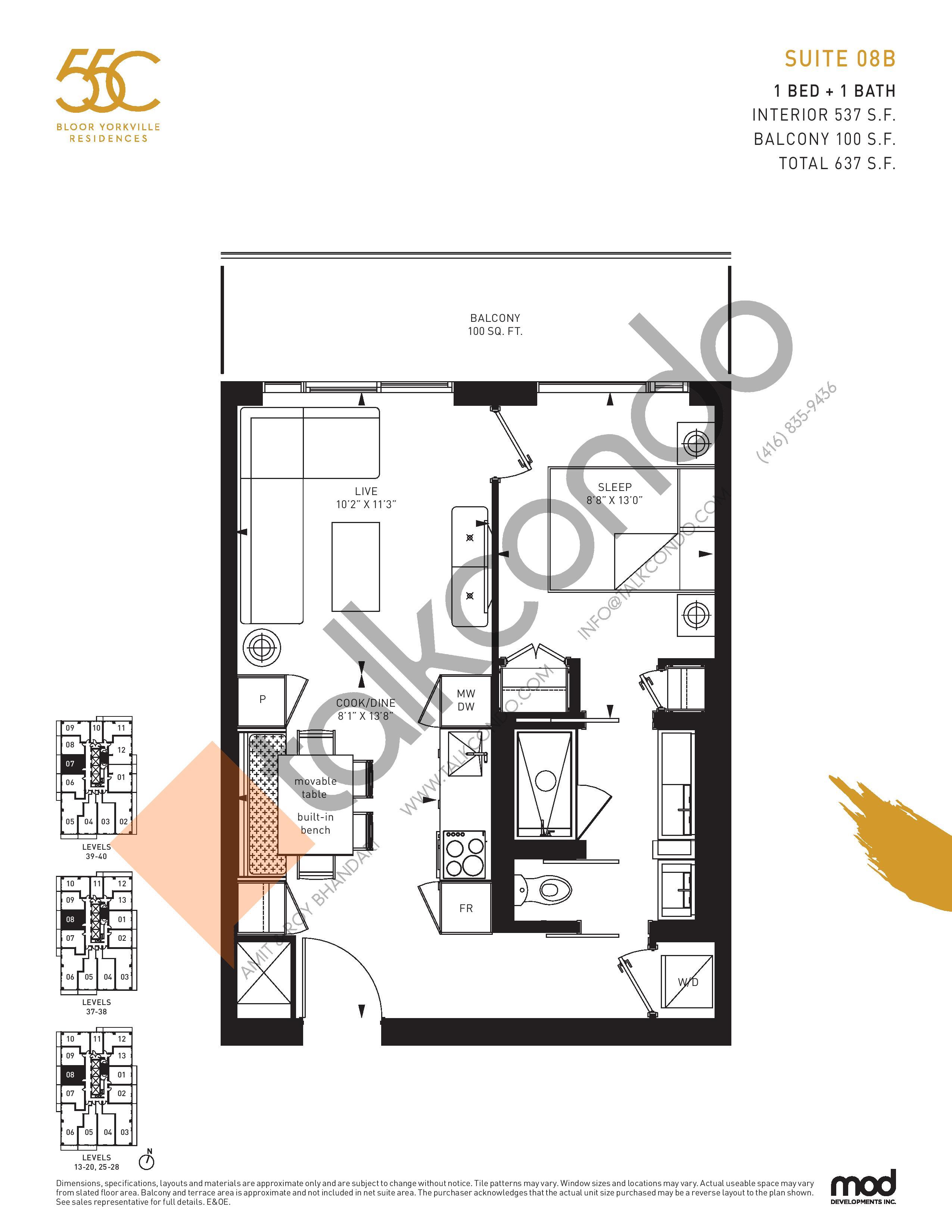 Suite 08B Floor Plan at 55C Condos - 537 sq.ft