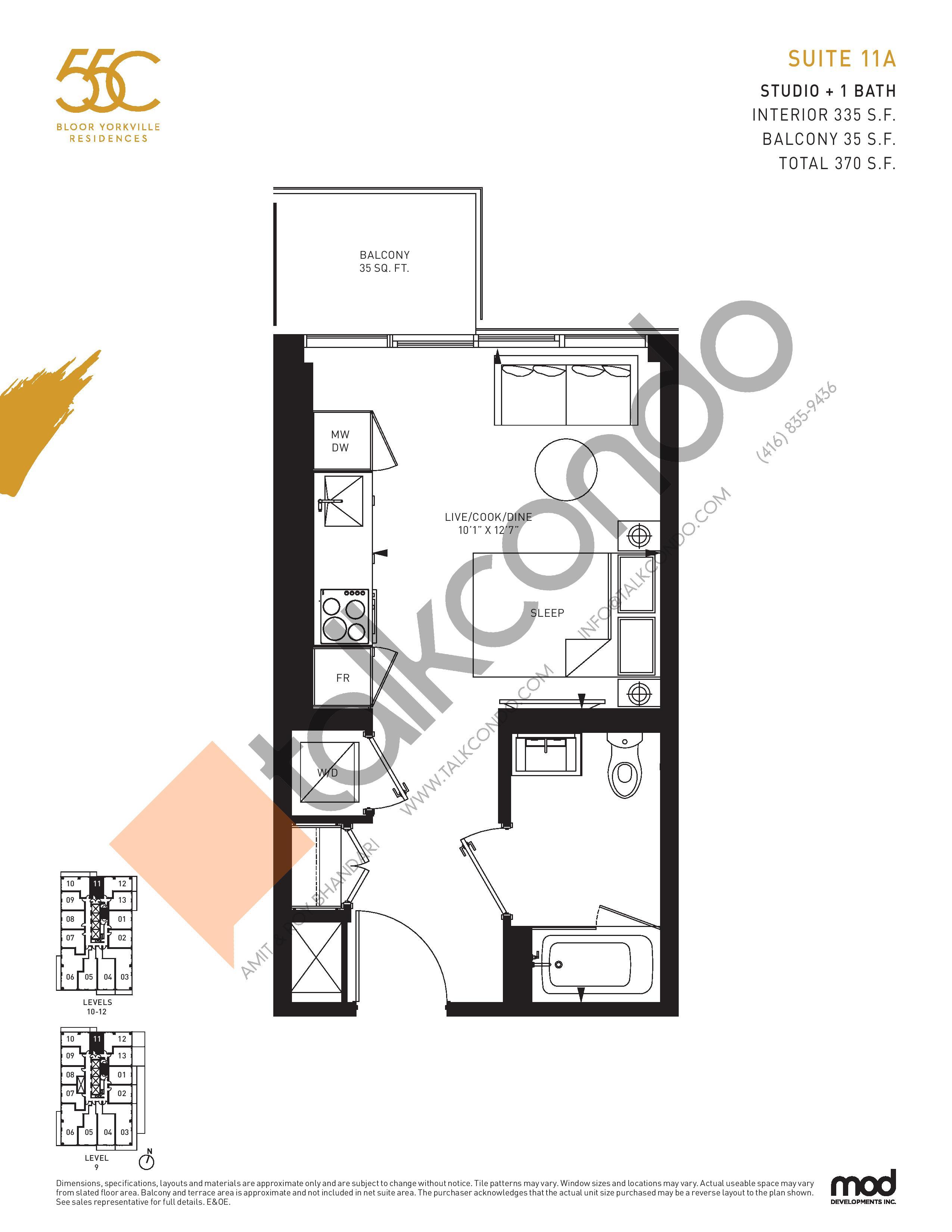 Suite 11A Floor Plan at 55C Condos - 335 sq.ft