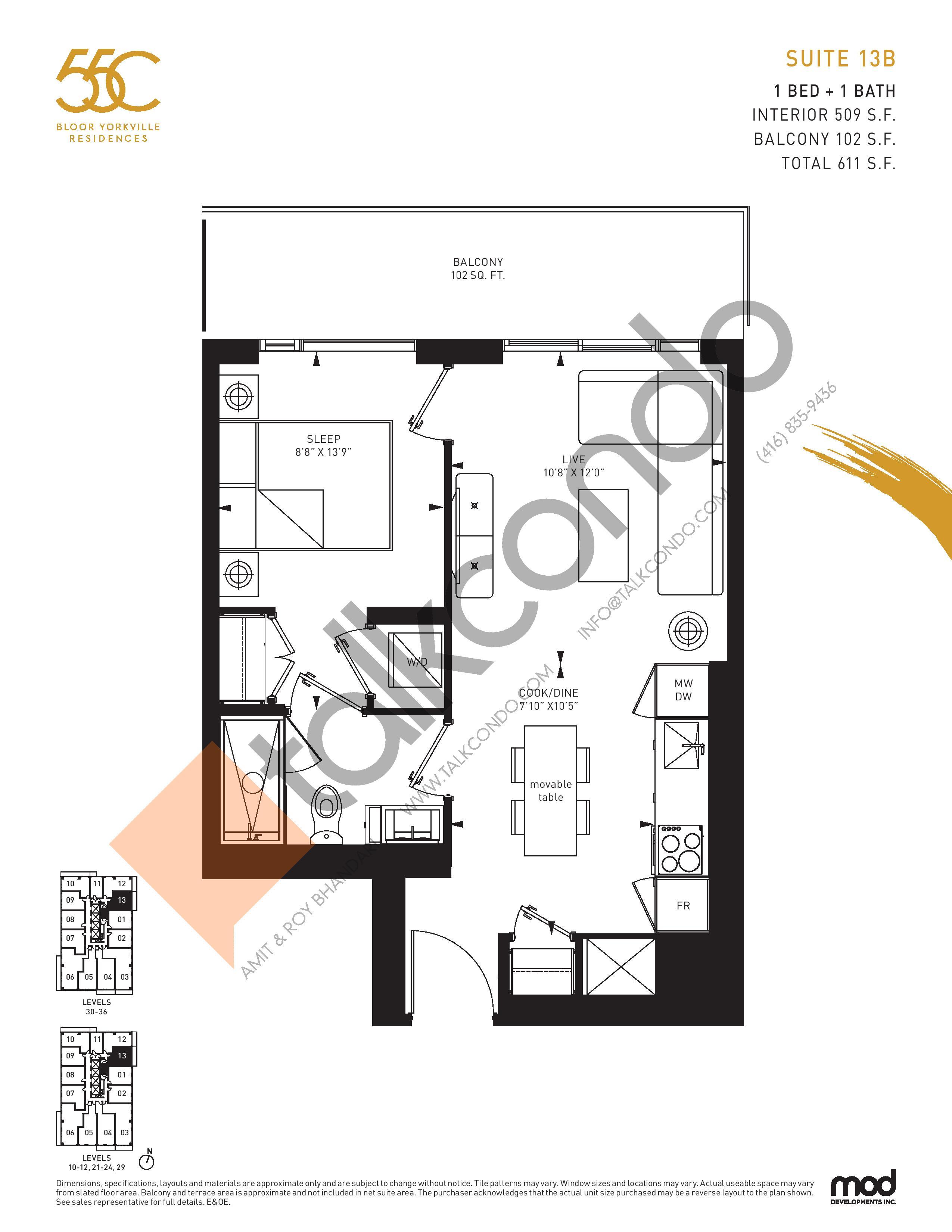 Suite 13B Floor Plan at 55C Condos - 509 sq.ft