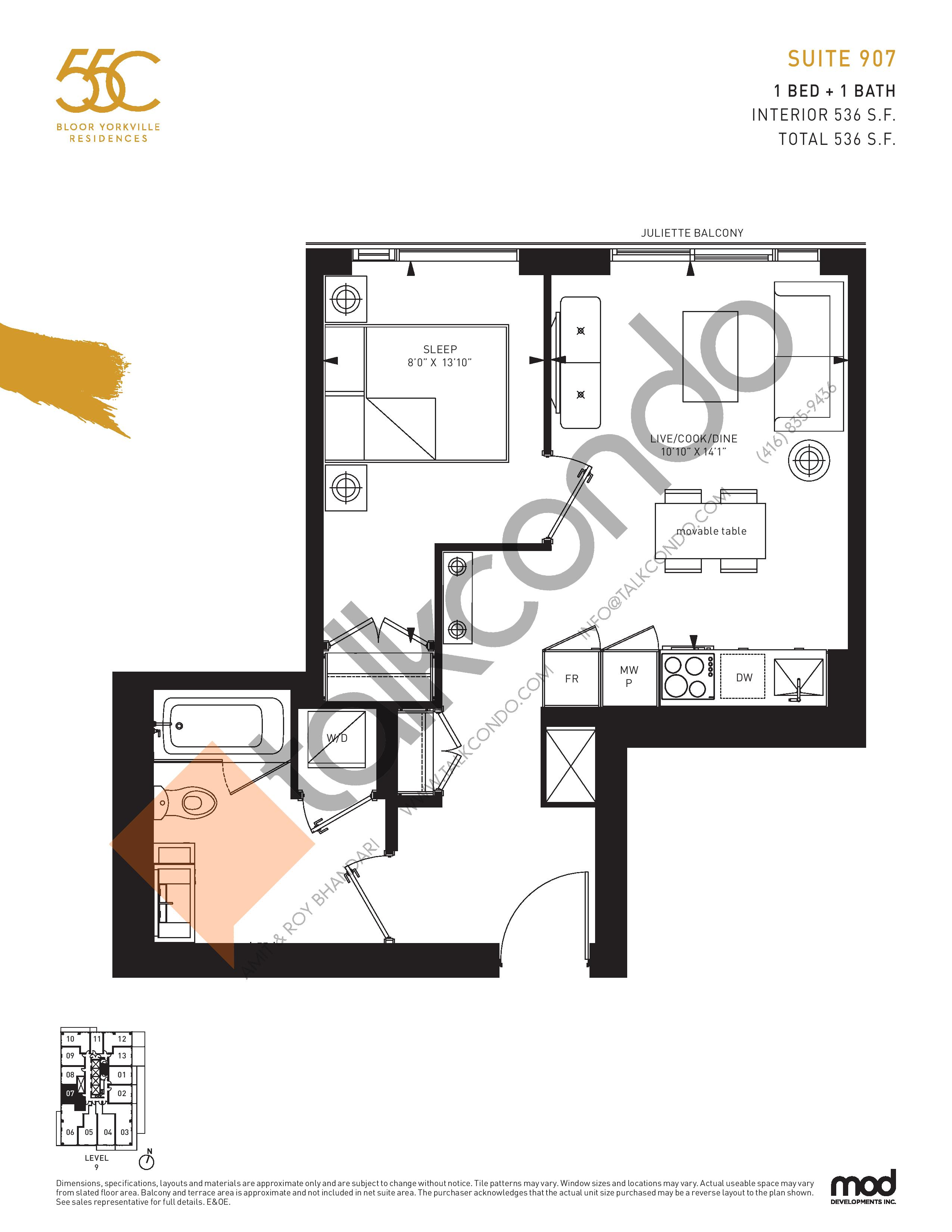 Suite 907 Floor Plan at 55C Condos - 536 sq.ft