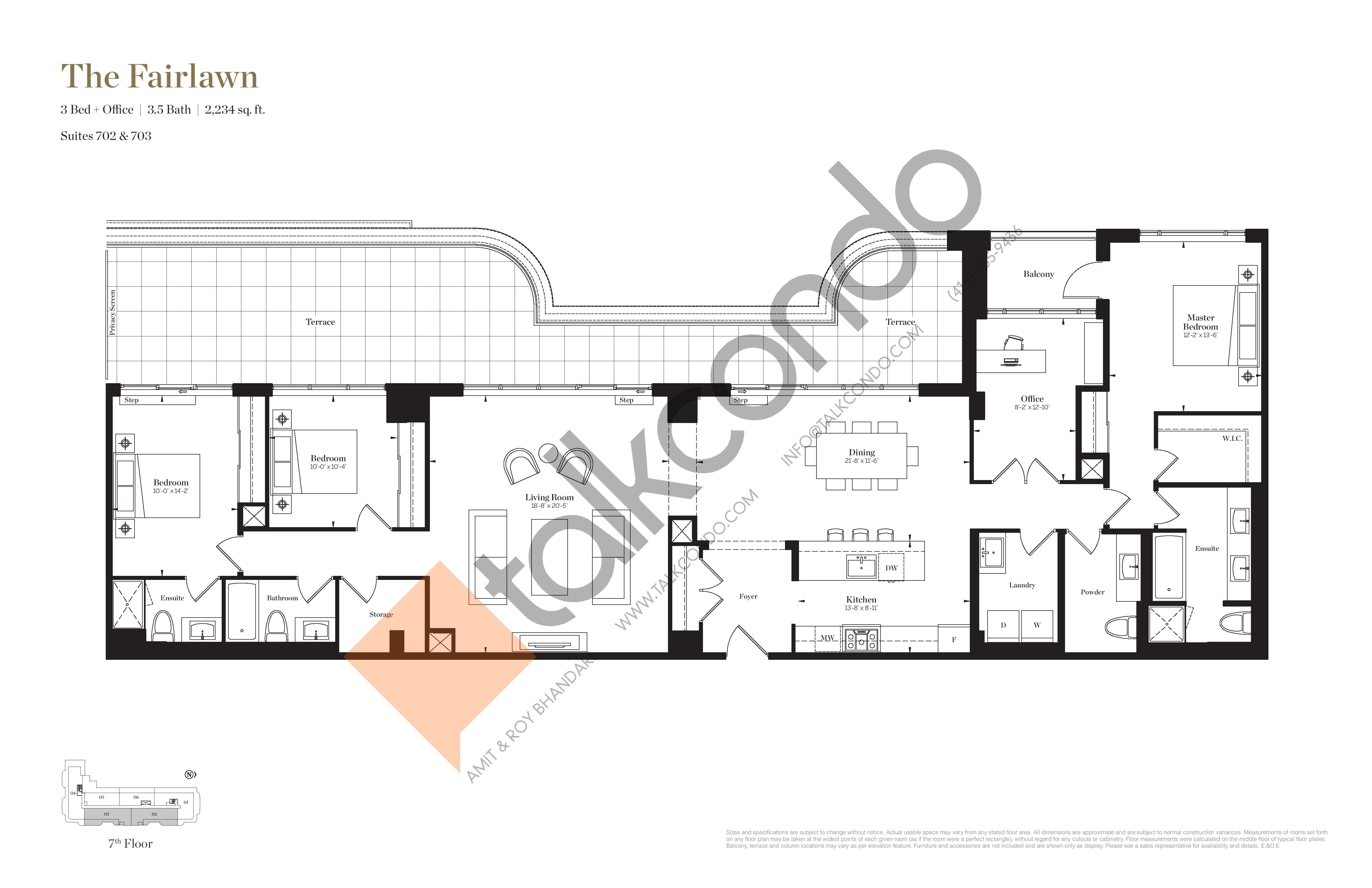 The Fairlawn Floor Plan at Empire Maven Condos - 2234 sq.ft