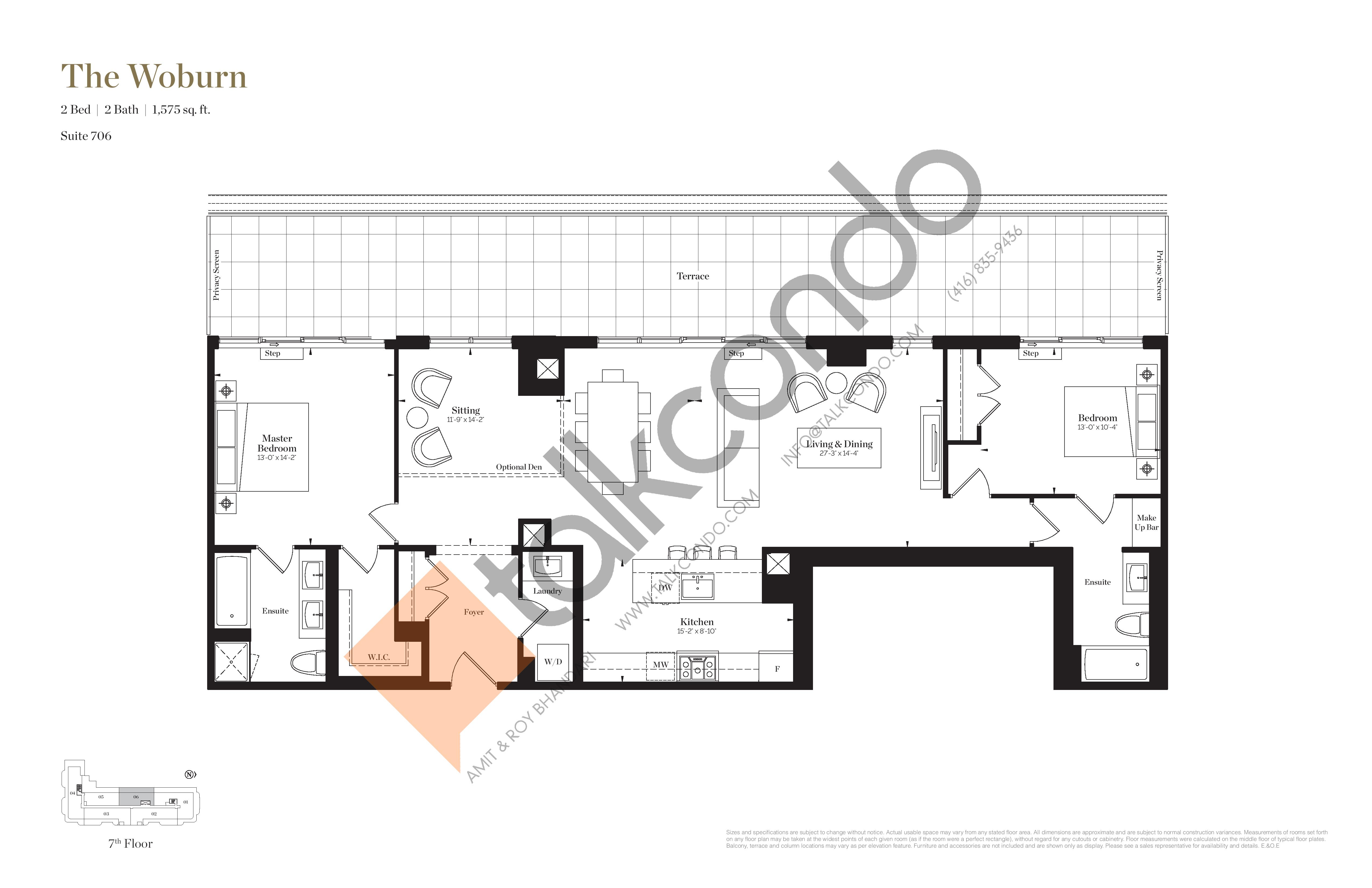 The Woburn Floor Plan at Empire Maven Condos - 1575 sq.ft
