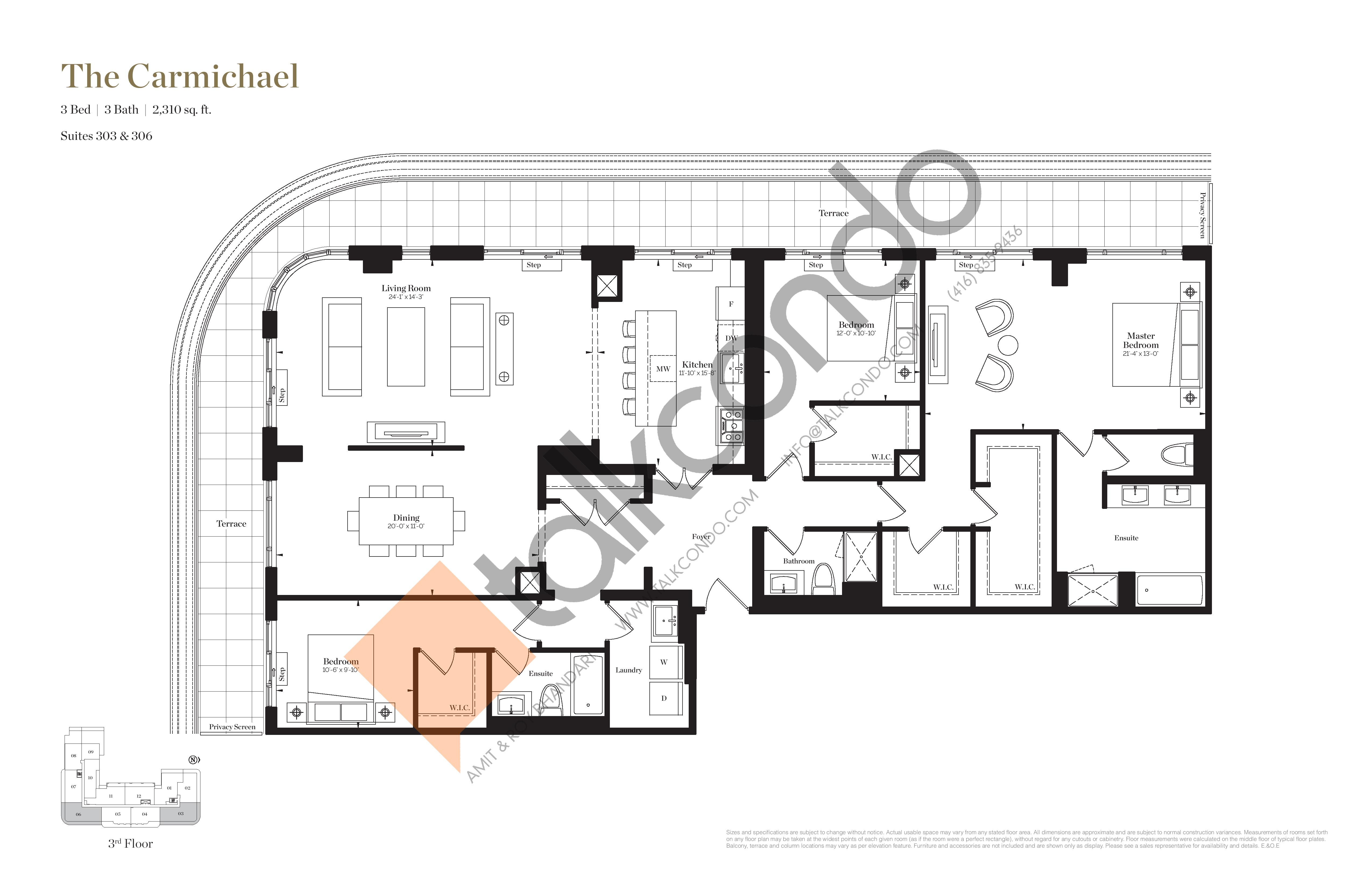 The Carmichael Floor Plan at Empire Maven Condos - 2310 sq.ft