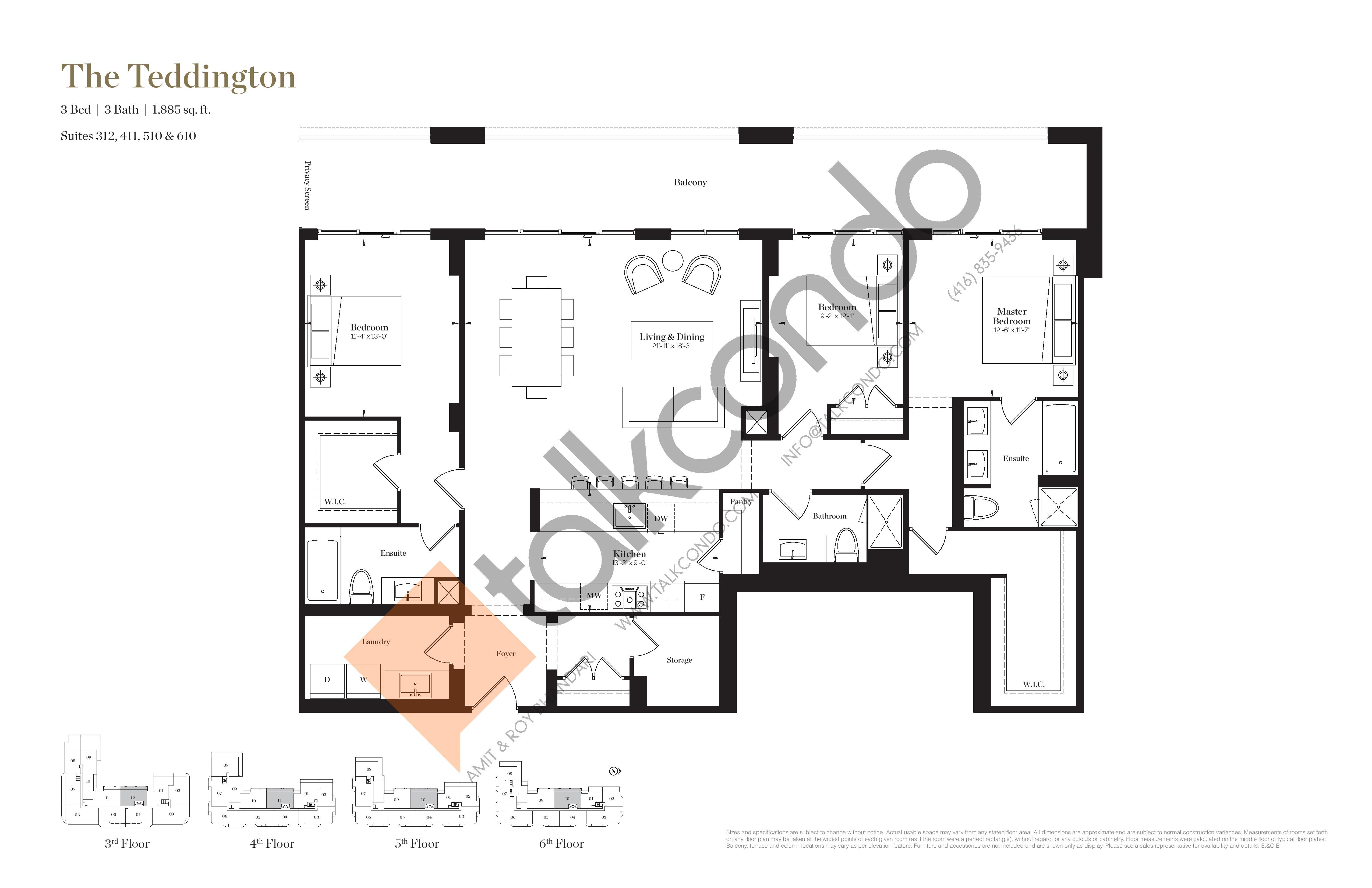The Teddington Floor Plan at Empire Maven Condos - 1885 sq.ft