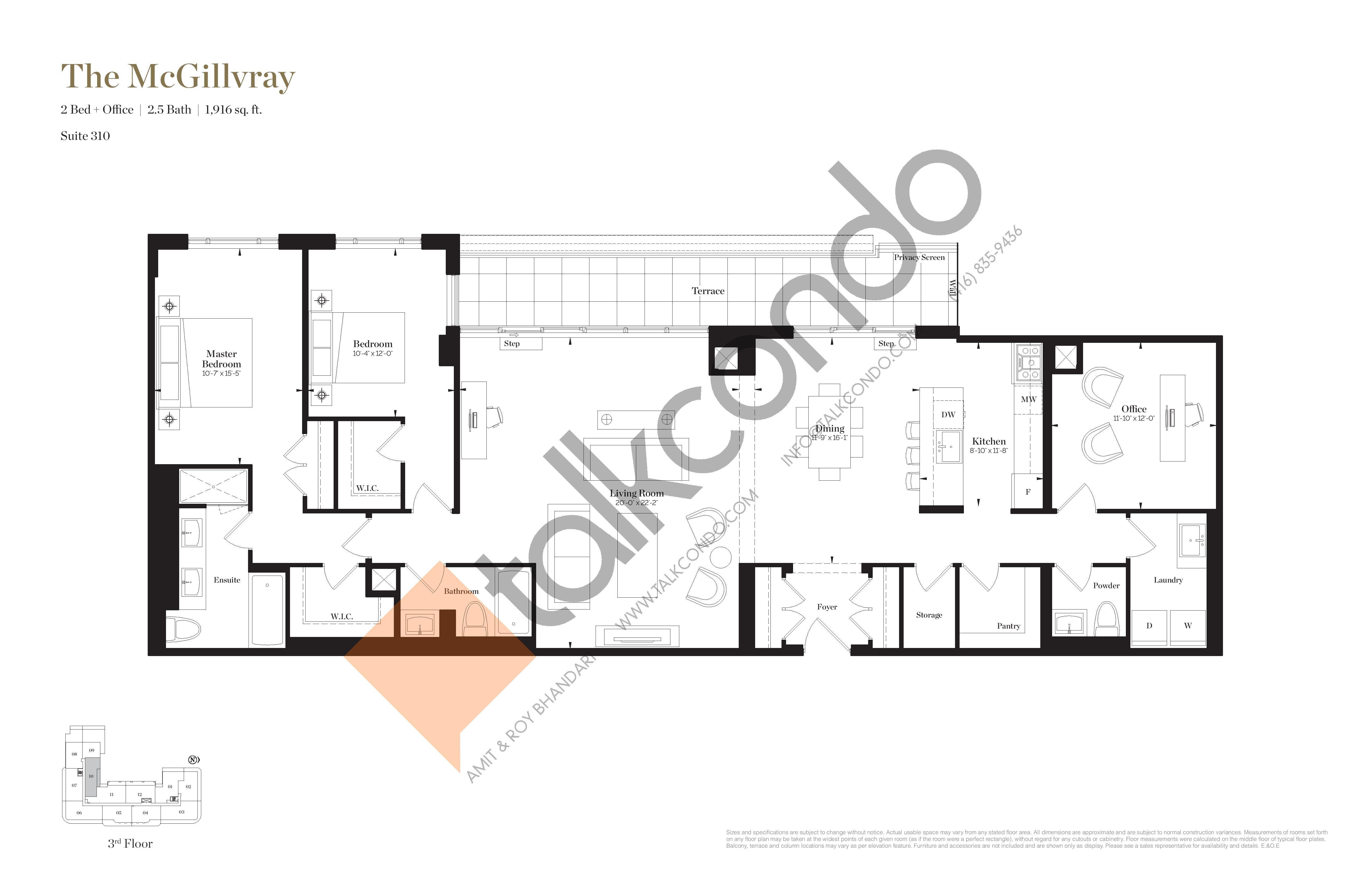 The McGillvray Floor Plan at Empire Maven Condos - 1916 sq.ft