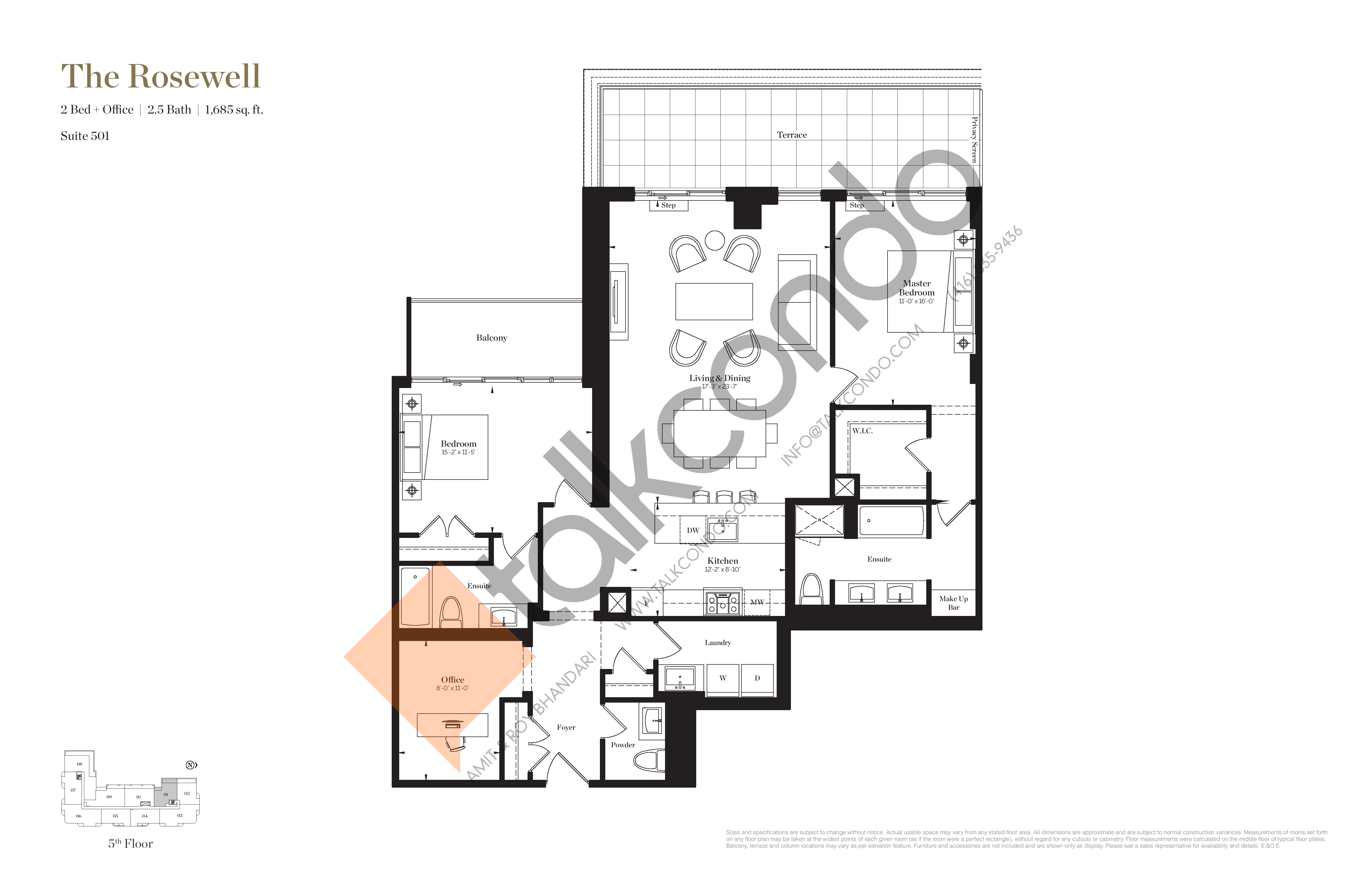 The Rosewell Floor Plan at Empire Maven Condos - 1685 sq.ft