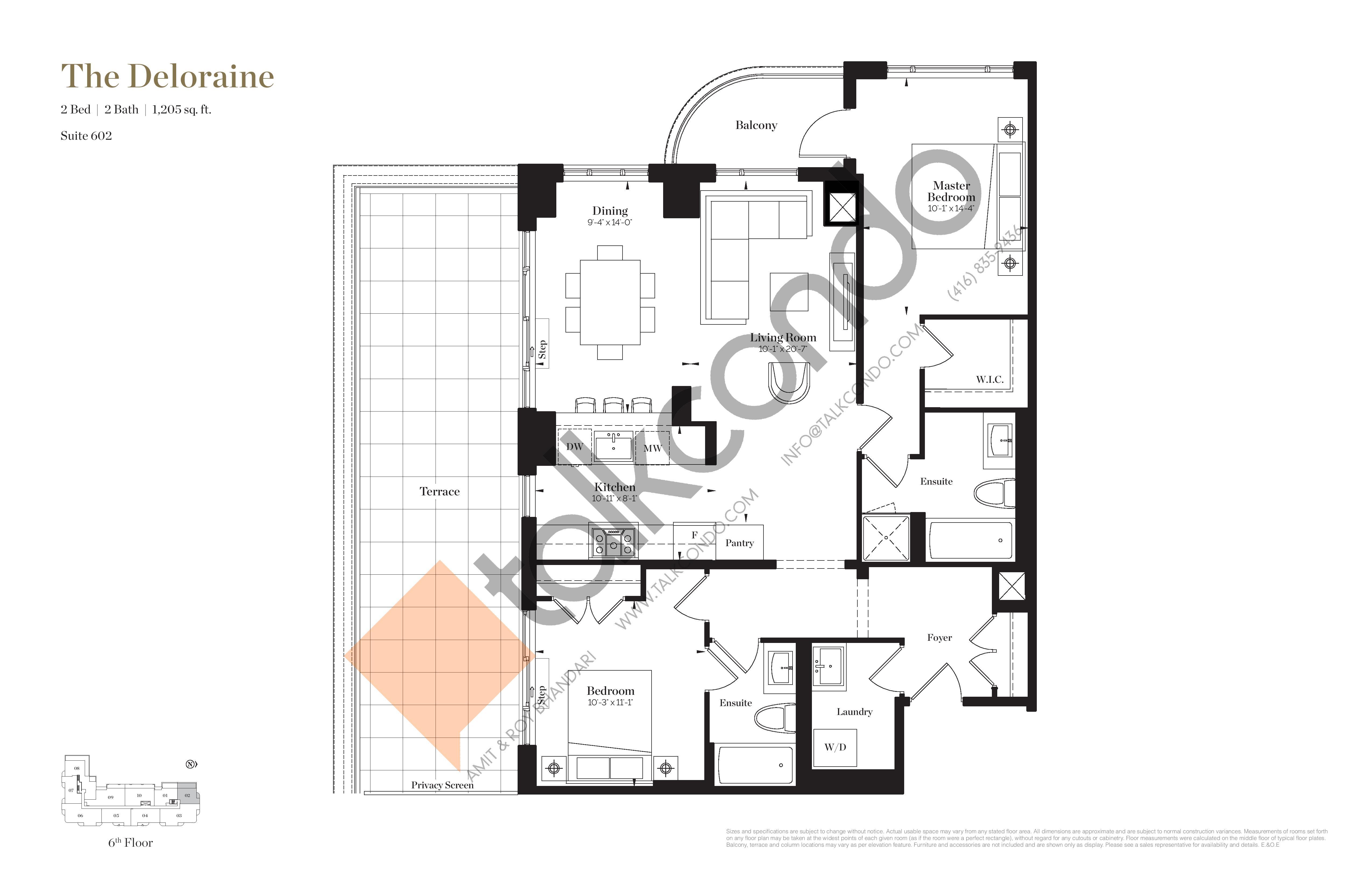 The Deloraine Floor Plan at Empire Maven Condos - 1205 sq.ft
