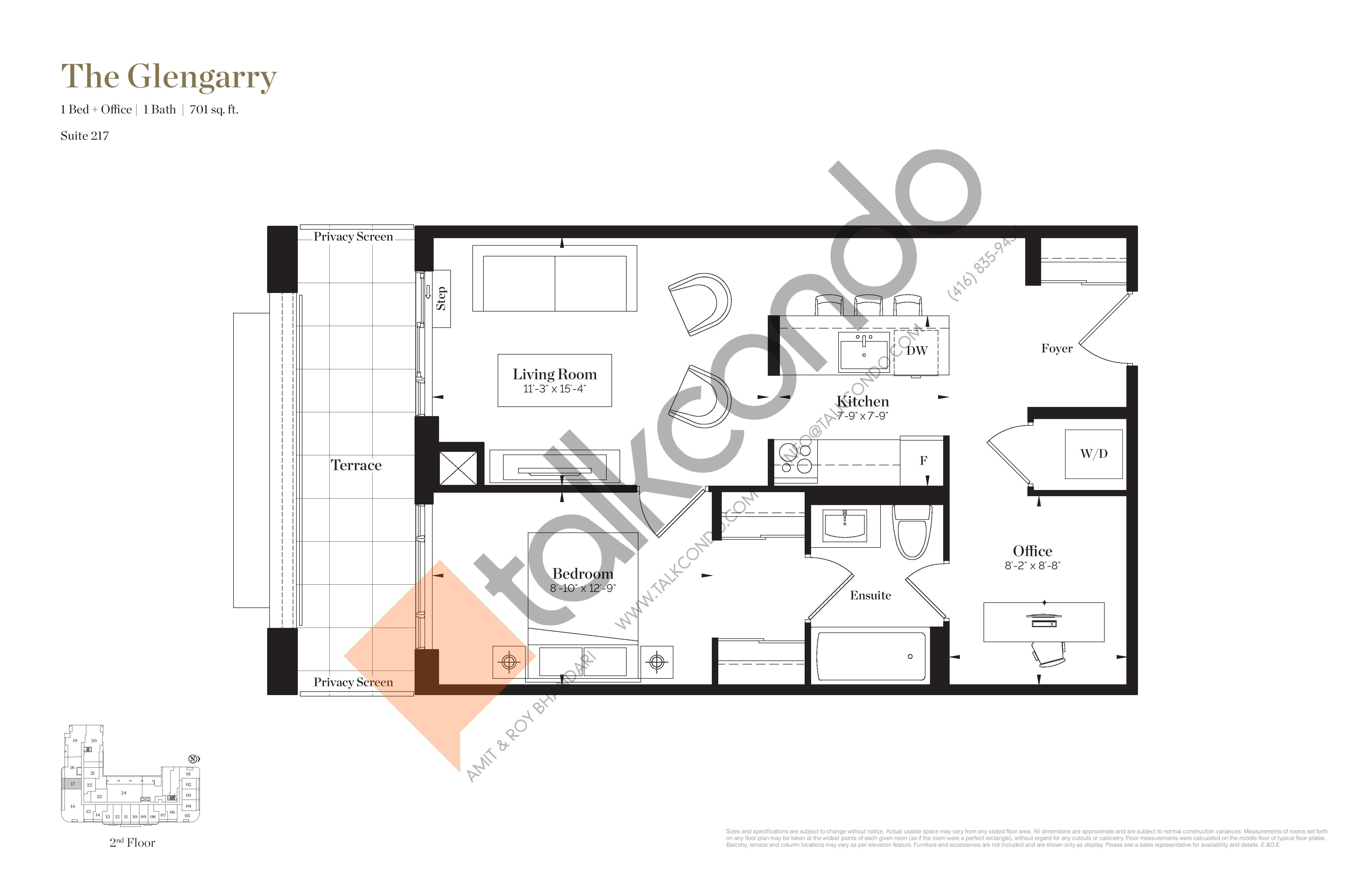 The Glengarry Floor Plan at Empire Maven Condos - 701 sq.ft