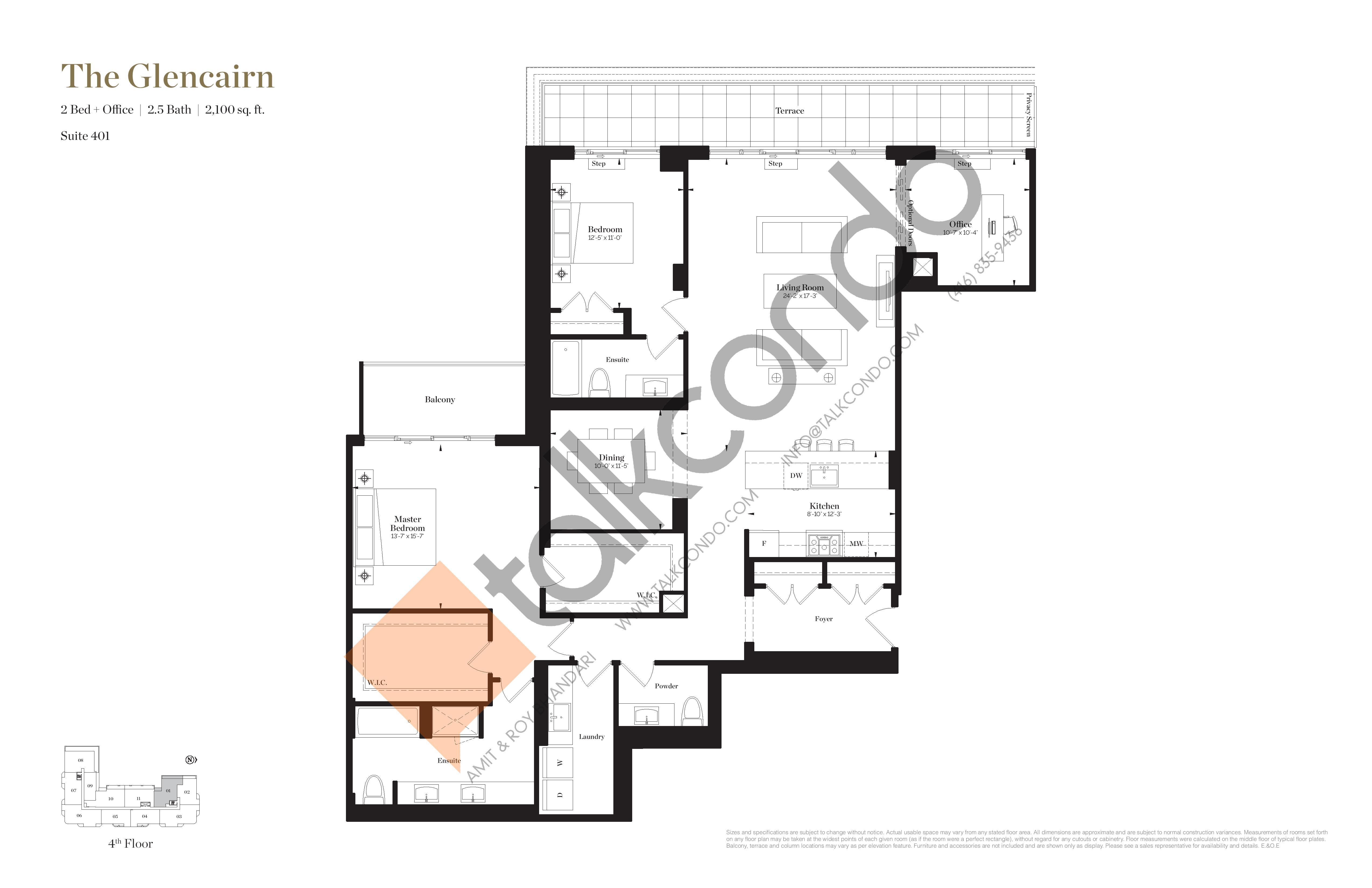 The Glencairn Floor Plan at Empire Maven Condos - 2100 sq.ft
