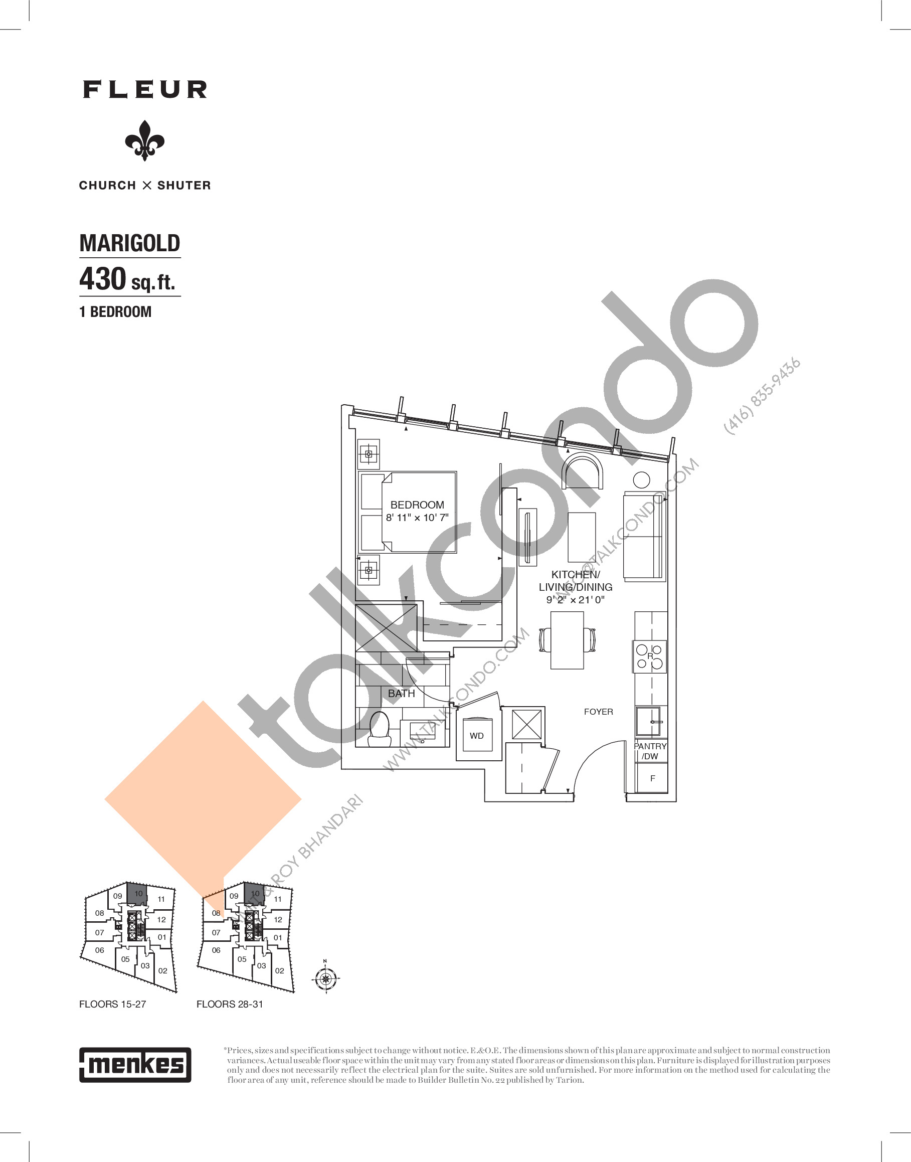 Marigold Floor Plan at Fleur Condos - 430 sq.ft