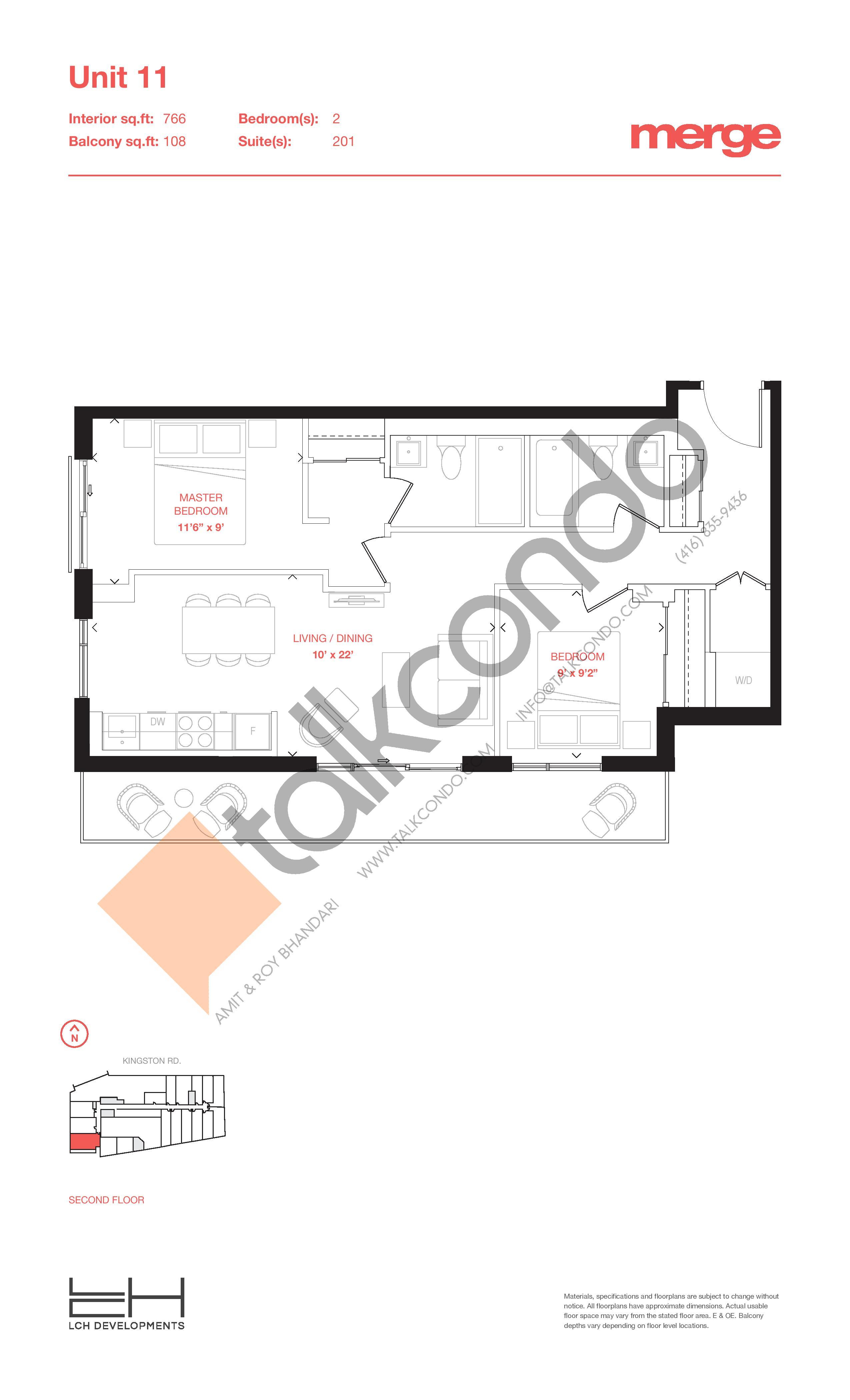 Unit 11 - Tower Floor Plan at Merge Condos - 766 sq.ft