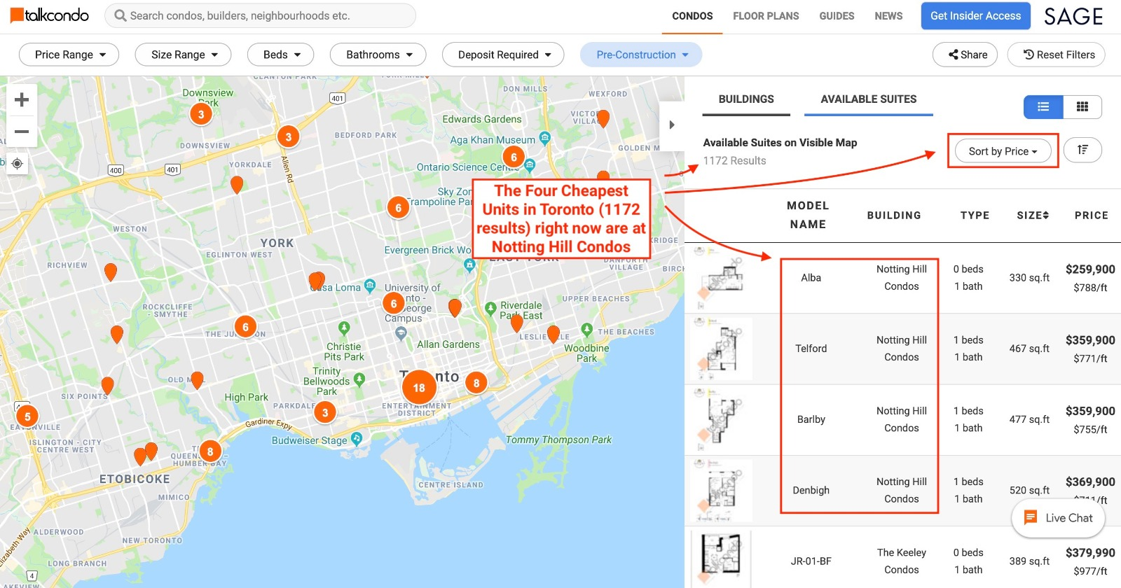 map data showing notting hill as the cheapest condo options in toronto