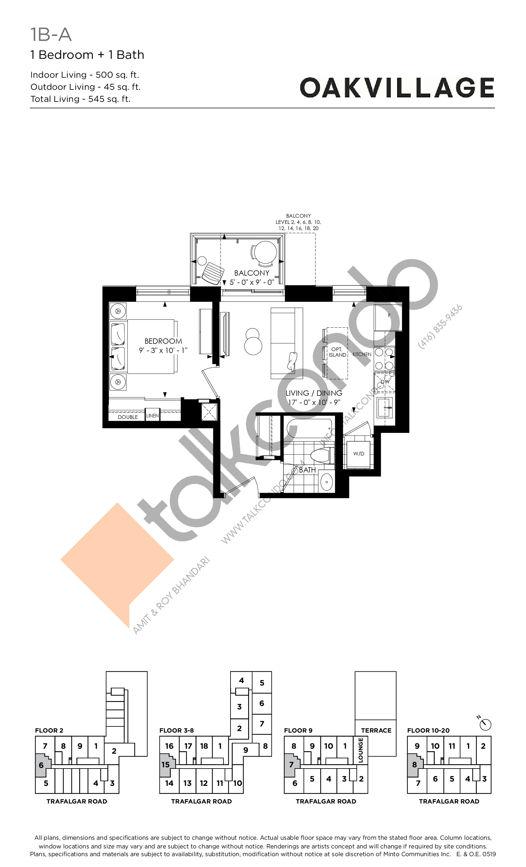1B-A (Tower) Floor Plan at Oakvillage Phase 2 - 500 sq.ft