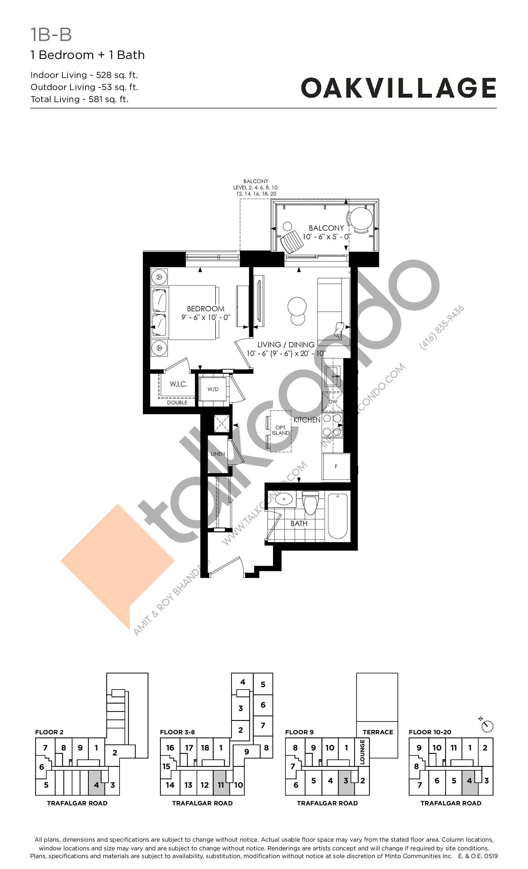 1B-B (Tower) Floor Plan at Oakvillage Phase 2 - 528 sq.ft