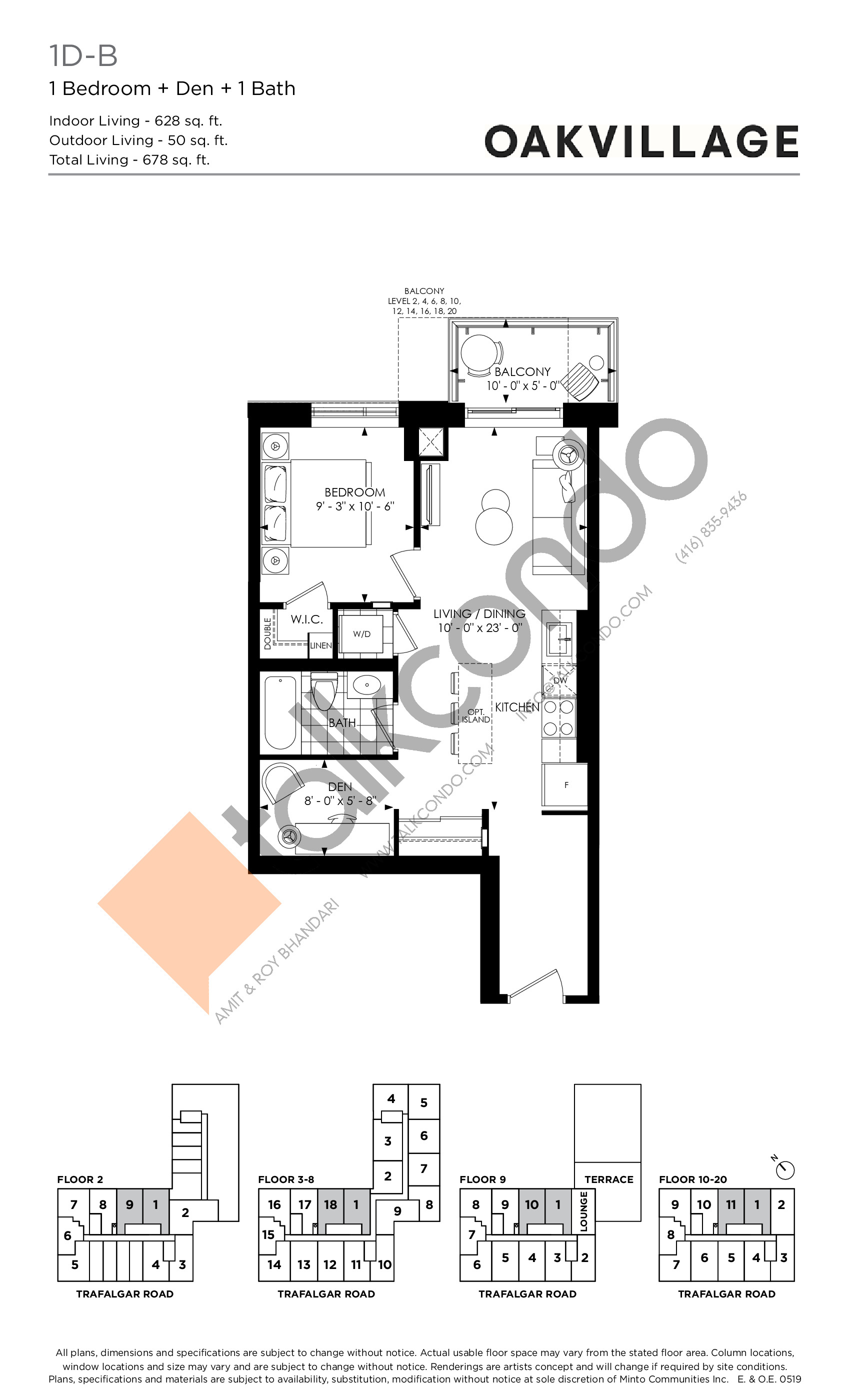 1D-B (Tower) Floor Plan at Oakvillage Phase 2 - 628 sq.ft